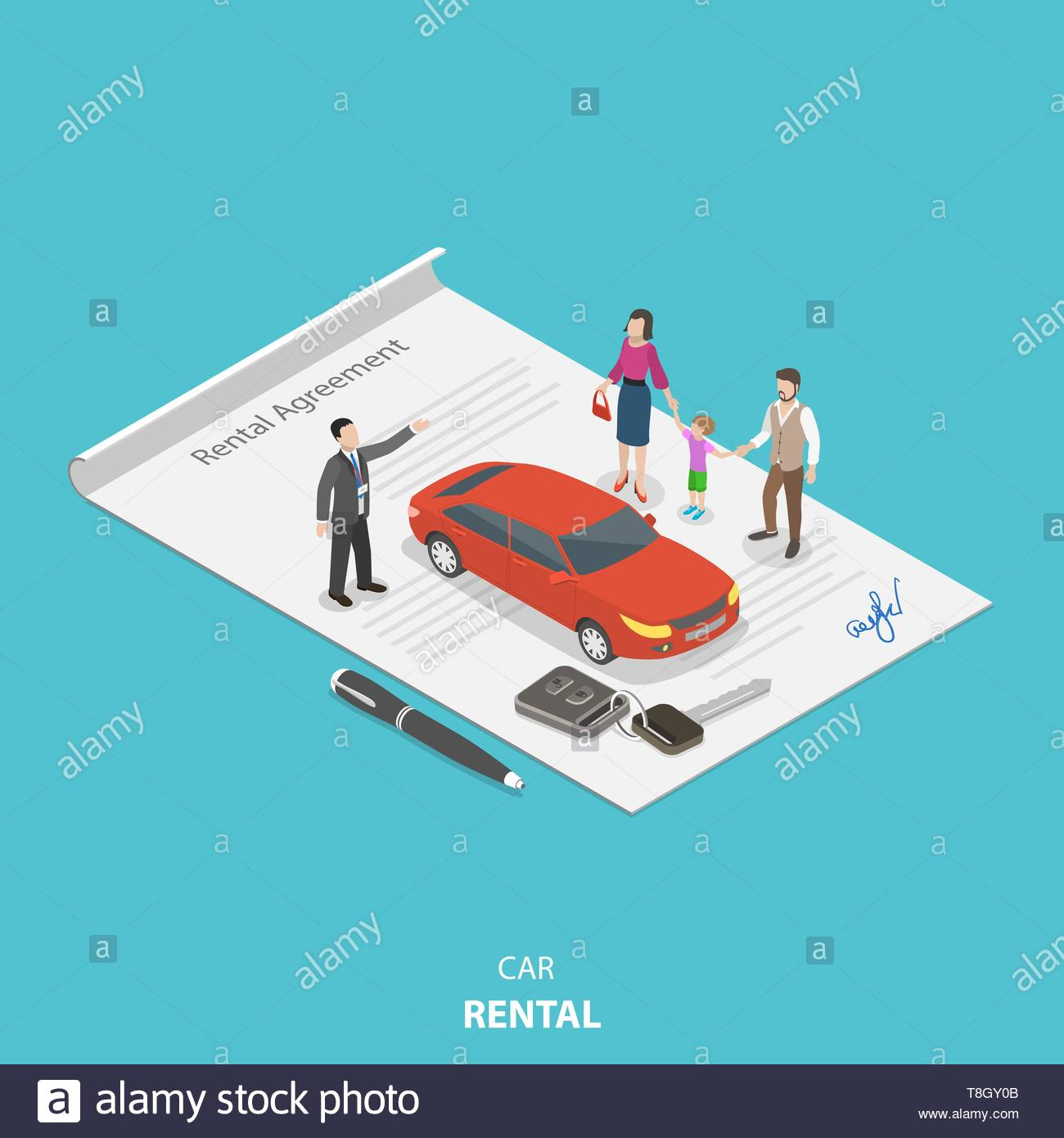 Vehicle rental flat isometric vector concept. Rental agent is describing the car rental condition to the young family standing on the rental agreement - Stock Vector
