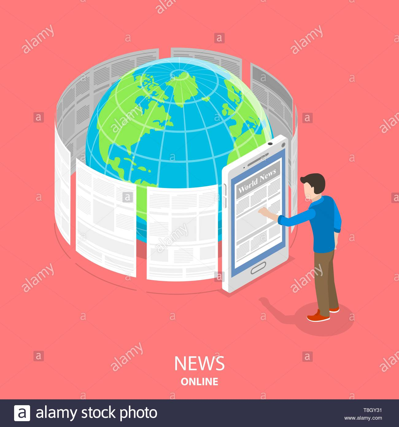 Online news flat isometric vector concept. News articles are whirling around the Earth. Man is standing near a big smartphone reading those articles t - Stock Vector