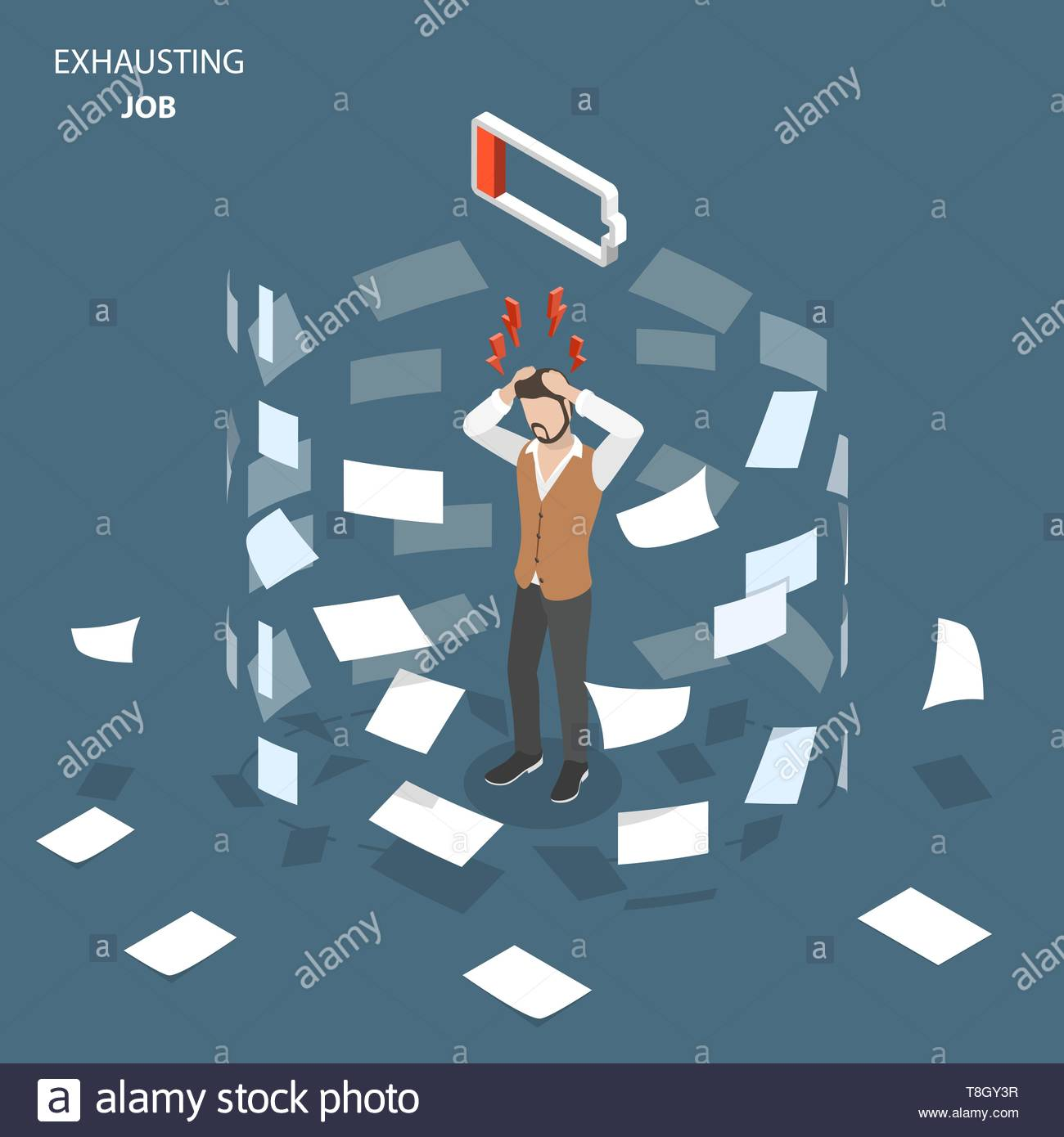 Exhausting job flat isometric vector concept. Man stands, holding his head, showing an fatigue and stress. Paper documents are whirling around him. - Stock Vector
