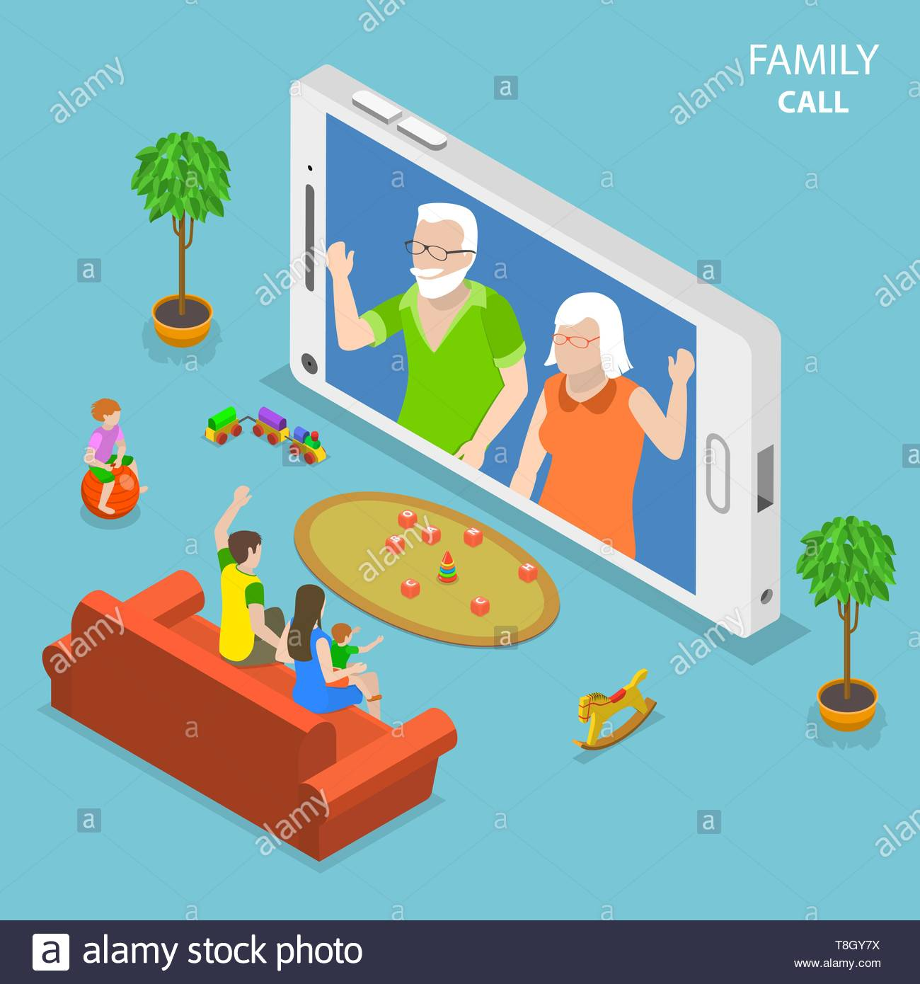 Family call flat isometric vector concept. Young family with 2 kids are having video call with thair parents using the smartphone. - Stock Vector