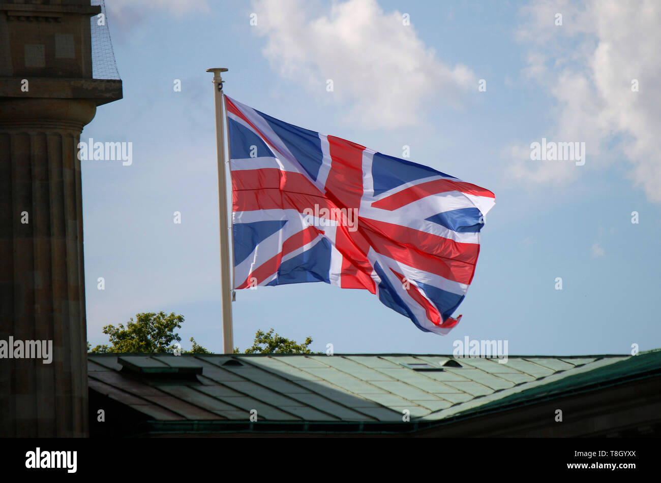 Impressionen: britische Fahne - Besuch des britischen Thronfolgerpaares in Deutschland, 7.Mai 2019, Pariser Platz, Berlin-Mitte (nur fuer redaktionell - Stock Image