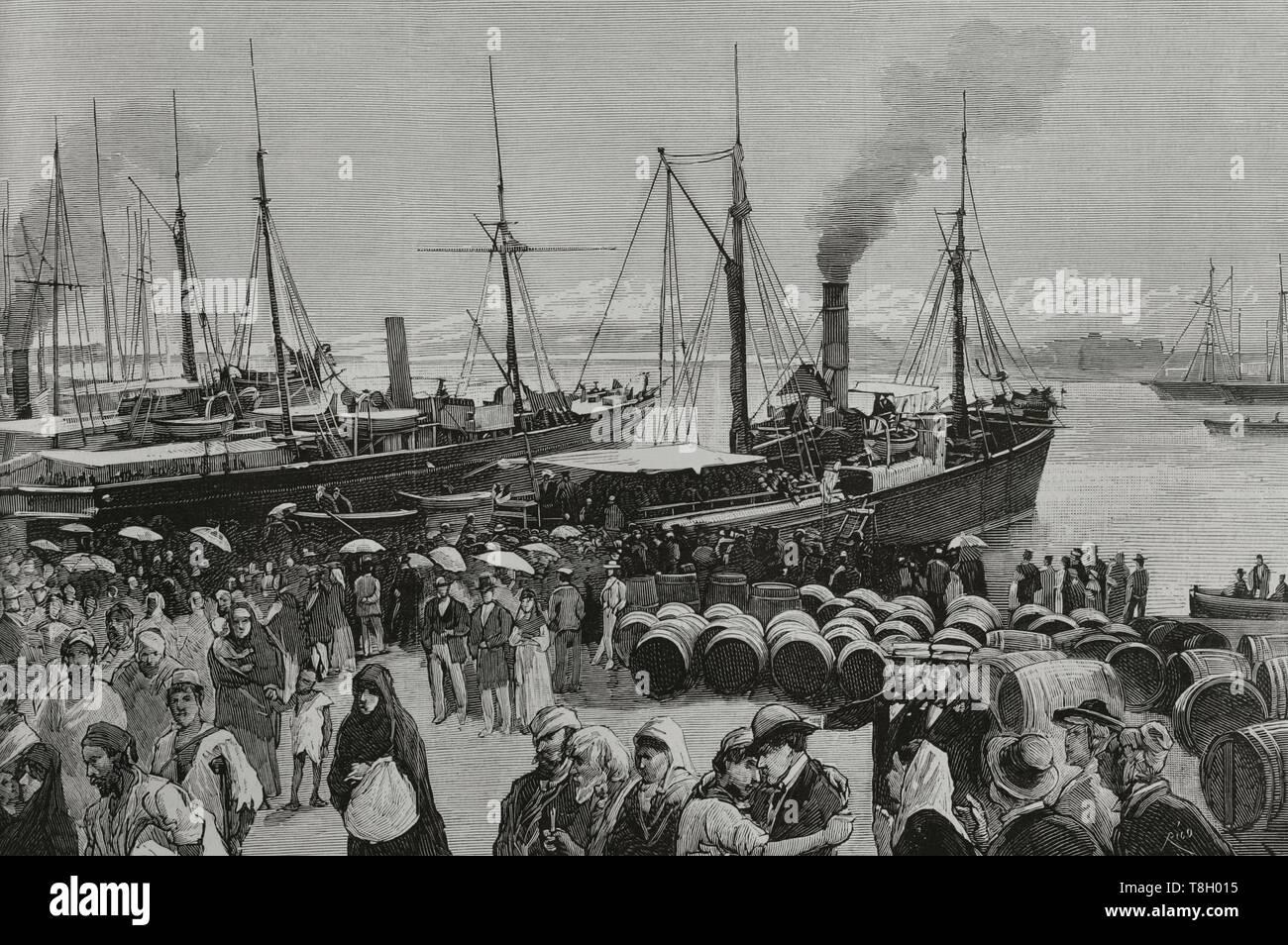 Durante el segundo tercio del siglo XIX muchos españoles fueron como agricultores a hacer fortuna al norte de Argelia. El 22 de junio de 1881 los hombres de Bu-Amena atacaron a los agricultores provocando el pánico entre los emigrantes europeos. Muchos regresaron a sus paises de origen. 9.000 españoles lo hicieron entre el 11 y el 22 de junio de 1881. Vista del puerto de Alicante (España). Desembarque de trabajadores españoles, fugitivos de Orán, repatriados por los vapores 'Besós' y 'Correo de Cartagena'. La Ilustración Española y Americana, 8 de julio de 1881. - Stock Image