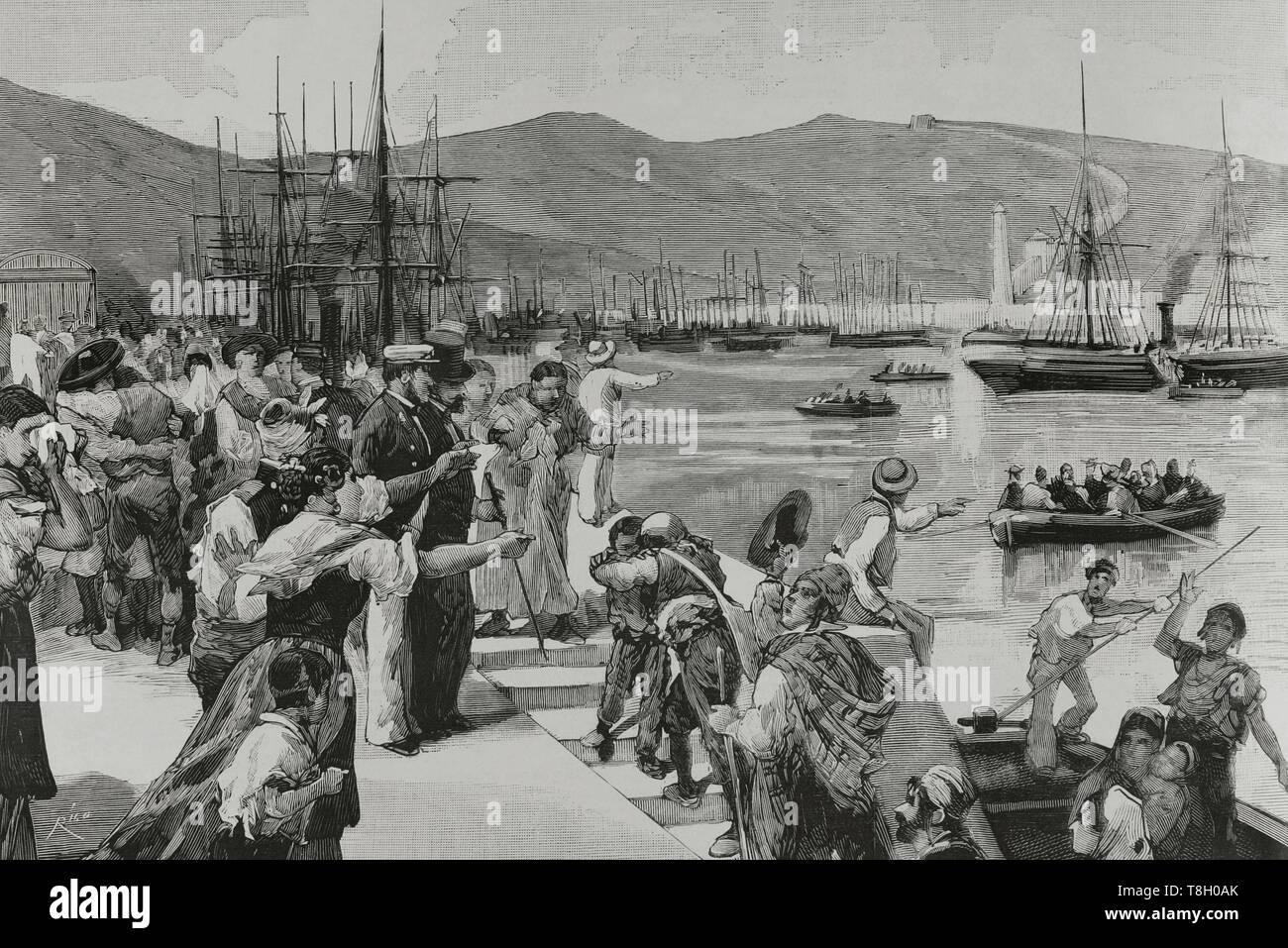 Durante el segundo tercio del siglo XIX muchos españoles fueron de agricultores a hacer fortuna al norte de Argelia. El 22 de junio de 1881 los hombres de Bu-Amena atacaron a los agricultores provocando el pánico entre los emigrantes europeos. Muchos regresaron a sus paises de origen. Nueve mil españoles lo hicieron entre el 11 y el 22 de junio de 1881. Puerto de Almeria (España). Desembarque de españoles, fugitivos de Orán, repatriados por el vapor 'Victoria', 14 del actual. Grabado por Bernardo Rico (1825-1894). La Ilustración Española y Americana, 22 de julio de 1881. - Stock Image