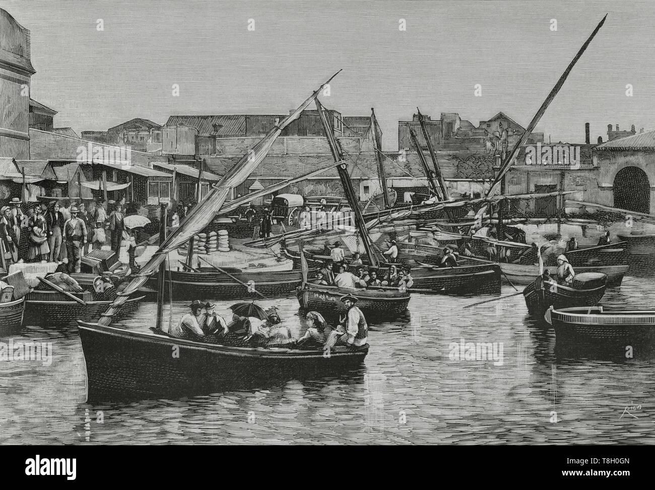 Durante el segundo tercio del siglo XIX muchos españoles fueron de agricultores a hacer fortuna al norte de Argelia. El 22 de junio de 1881 los hombres de Bu-Amena atacaron a los agricultores provocando el pánico entre los emigrantes europeos. Muchos regresaron a sus paises de origen. Nueve mil españoles lo hicieron entre el 11 y el 22 de junio de 1881. Cartagena. Desembarque de españoles repatriados por el vapor 'Numancia', el 15 del actual, como consecuencia de los sucesos de Orán. Grabado por Bernardo Rico (1825-1894). La Ilustración Española y Americana, 22 de julio de 1881. - Stock Image