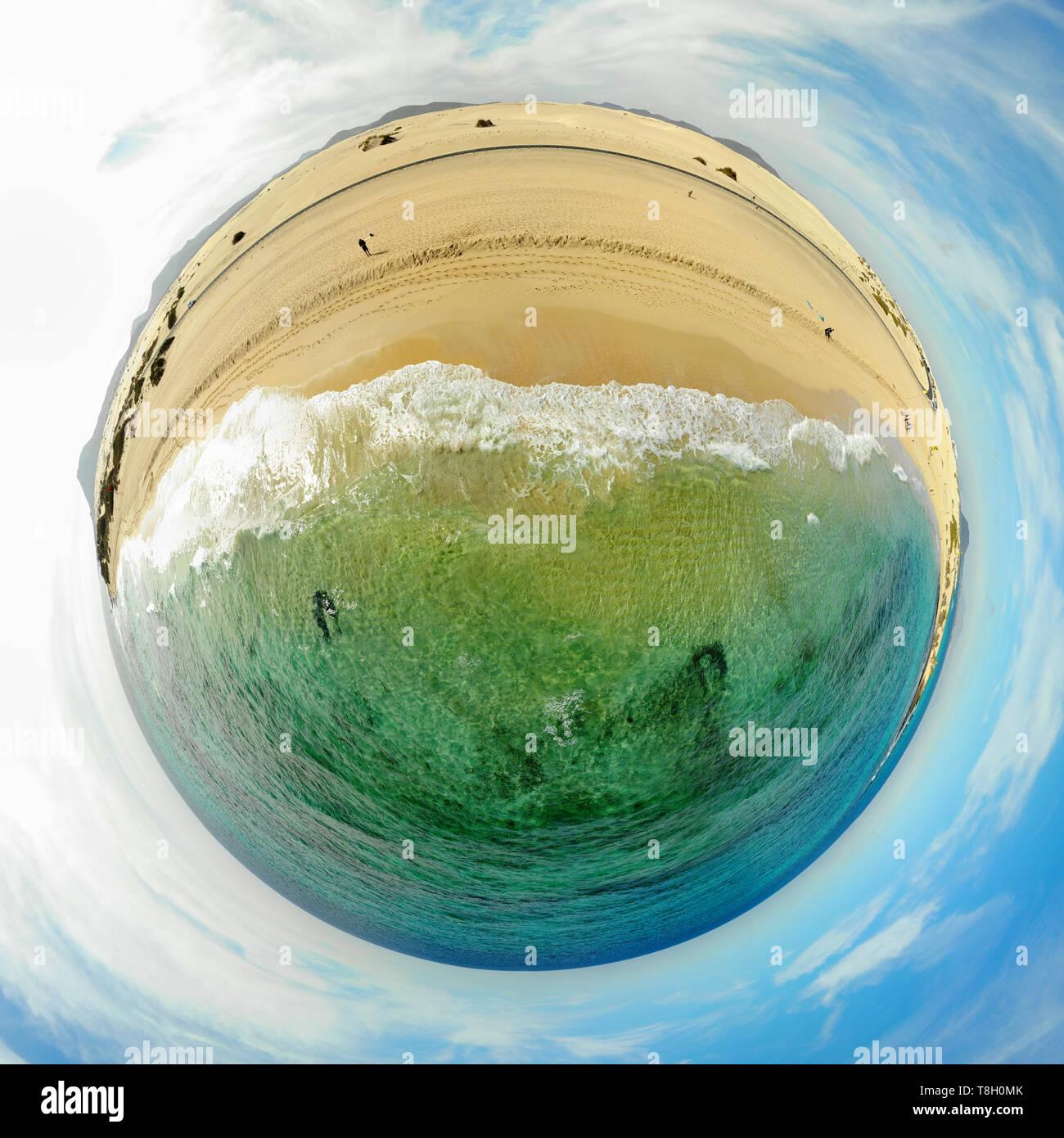 full circle-Panorama: Luftbild: Sandduenen von Corralejo, Fuerteventura, Kanarische Inseln, Spanien/ aerial view: sand dunes of Corralejo,Fuerteventur - Stock Image