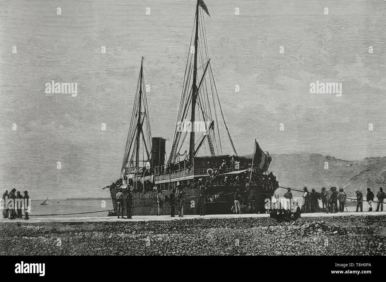 Durante el segundo tercio del siglo XIX muchos españoles fueron como agricultores a hacer fortuna al norte de Argelia. El 22 de junio de 1881 los hombres de Bu-Amena atacaron a los agricultores provocando el pánico entre los emigrantes europeos. Muchos regresaron a sus paises de origen. Nueve mil españoles lo hicieron entre el 11 y el 22 de junio de 1881. Puerto de Cartagena (España). Arribo del vapor trasatlantico 'San Agustin', conduciendo refuerzos de tropas francesas con destino a Argelia. Grabado por Tomás Carlos Capuz (1834-1899). La Ilustración Española y Americana, 22 de julio de 1881. - Stock Image