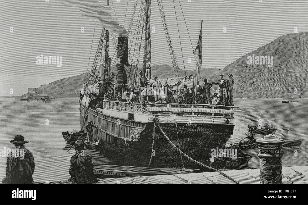Durante el segundo tercio del siglo XIX muchos españoles fueron de agricultores a hacer fortuna al norte de Argelia. El 22 de junio de 1881 los hombres de Bu-Amena atacaron a los agricultores provocando el pánico entre los emigrantes europeos. Muchos regresaron a sus paises de origen. Nueve mil españoles lo hicieron entre el 11 y el 22 de junio de 1881. Puerto de Cartagena (España). Llegada del vapor 'Correo de Cartagena', conduciendo fugitivos de Oran. Grabado por Bernardo Rico (1825-1894). La Ilustración Española y Americana, 15 de julio de 1881. - Stock Image