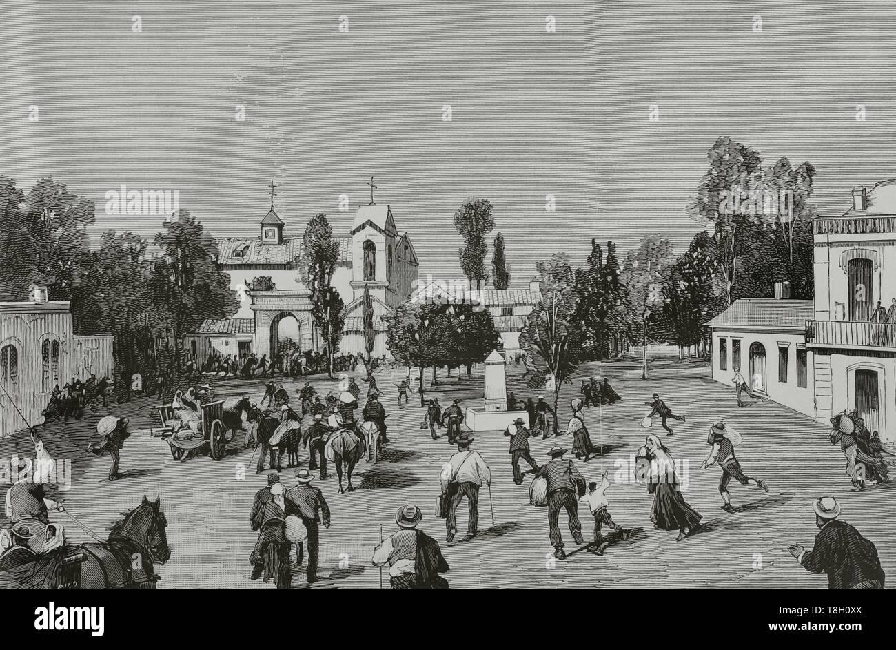 Durante el segundo tercio del siglo XIX muchos europeos fueron a hacer fortuna al norte de Argelia. El 22 de junio de 1881 los hombres de Bu-Amena atacaron a los agricultores provocando el pánico entre los emigrantes europeos. Muchos regresaron a sus paises de origen. Argelia, Saida (Orán). Pánico de los habitantes europeos al llegar los colonos que pudieron librarse de las matanzas de Kharfaffah. Grabado por Bernardo Rico y Ortega (1825-1894). La Ilustración Española y Americana, 8 de agosto de 1881. - Stock Image