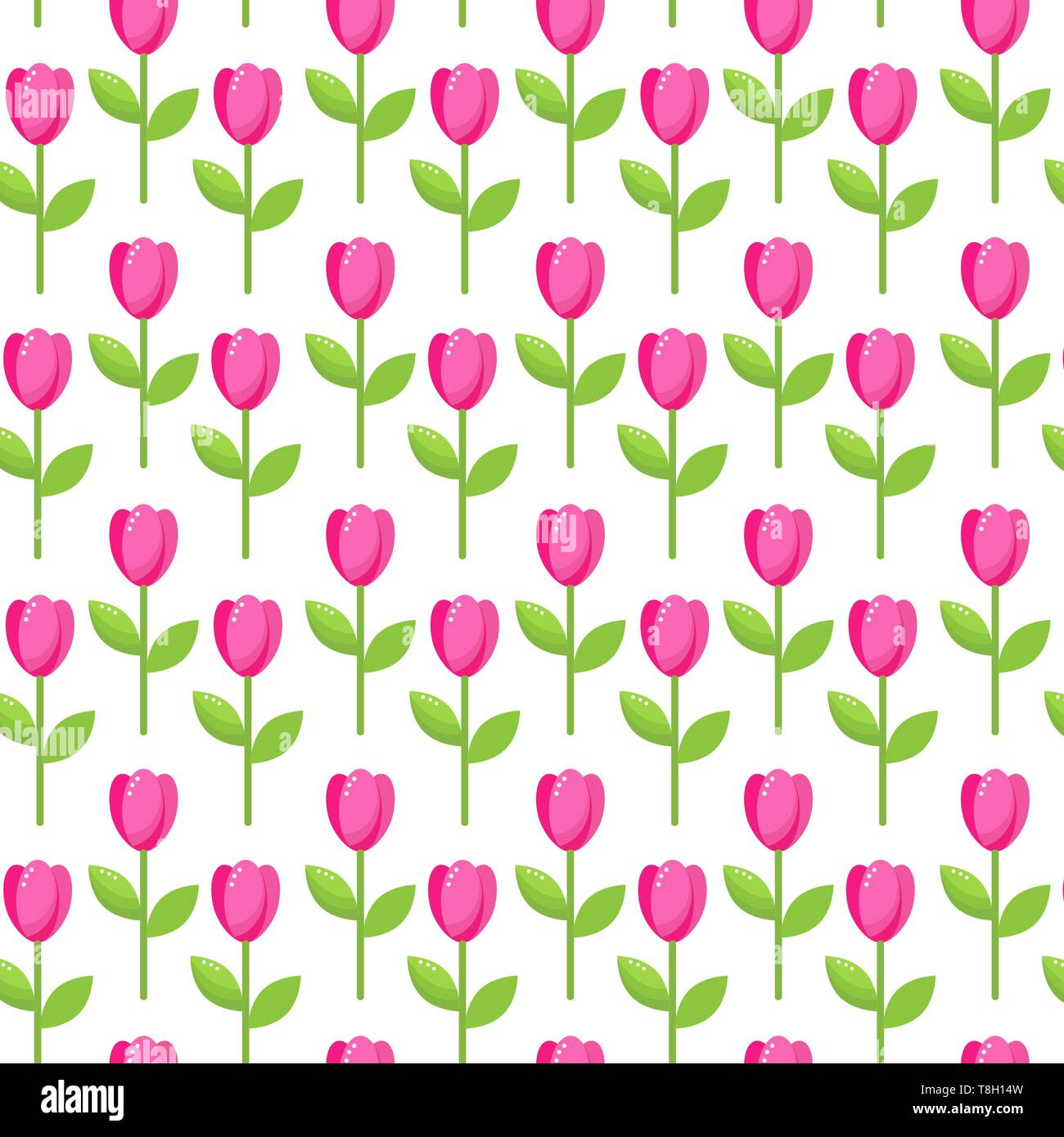 seamless vector pattern of pink stylized tulip flowers - Stock Vector