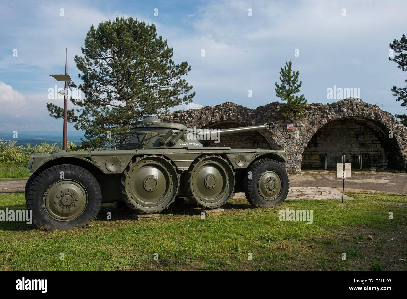 France, Doubs, Montbeliard, the veloroute, euro bike 6, the Fort of Mount Bart, armored exhibition - Stock Image