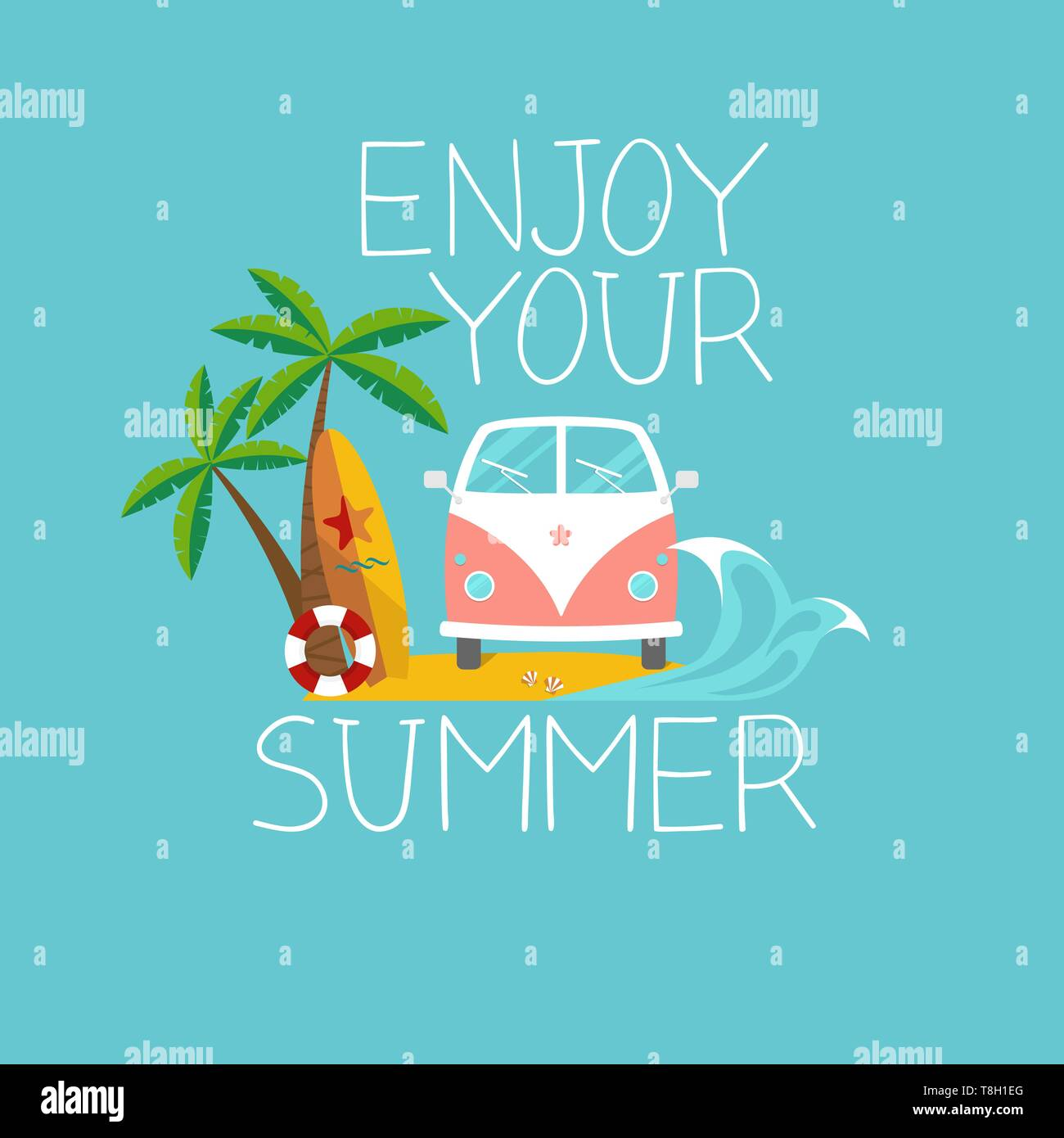 flat summer background with retro van on the beach, surfboard, palms and slogan 'enjoy your summer' - Stock Image