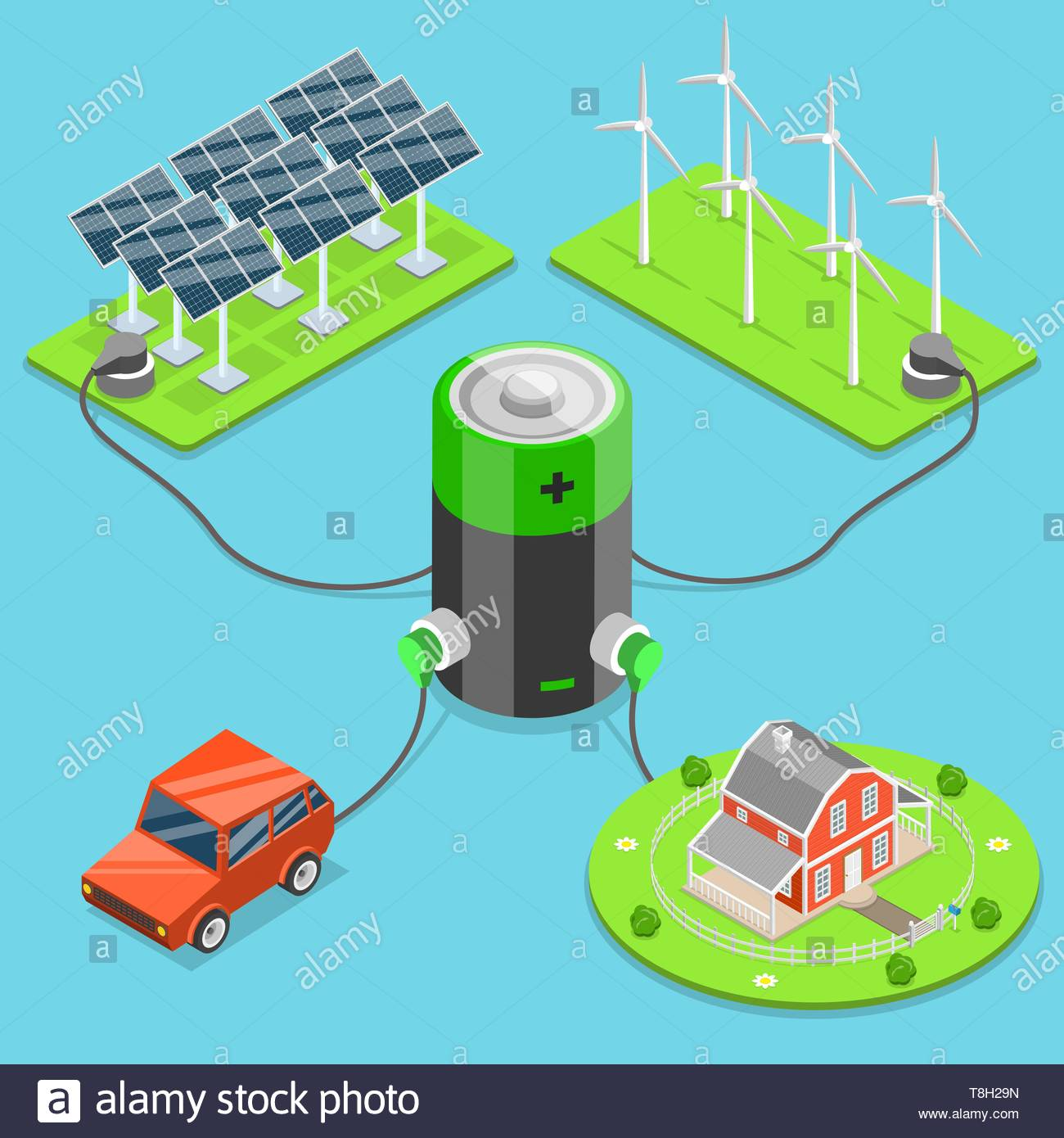 Alternative green energy flat isometric vector. Car and house connected to the battery which is charged by the solar panels and wind turbines. - Stock Vector