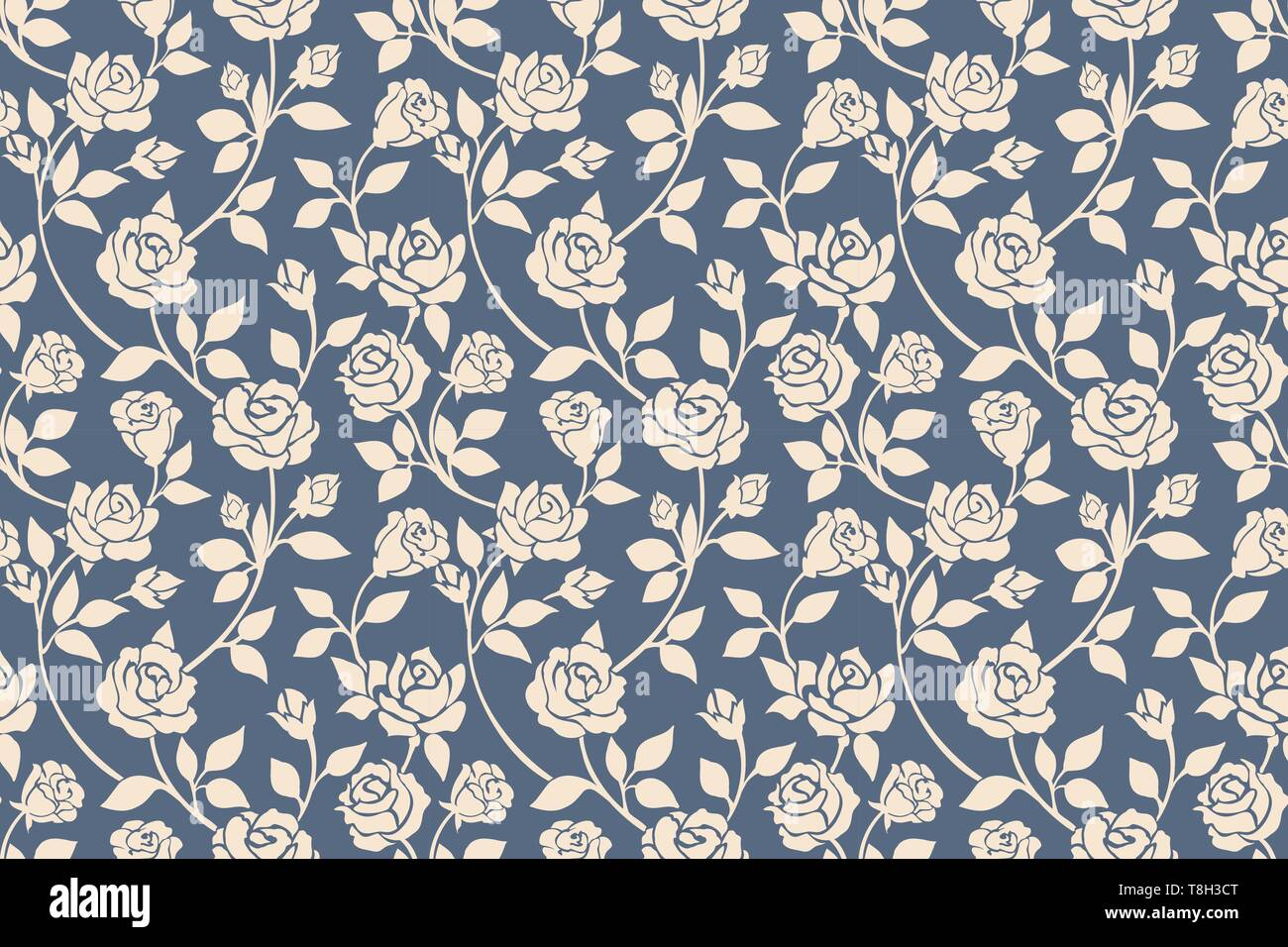 Blue Roses Floral Seamless Pattern Drawing Beige Roses Flowers On