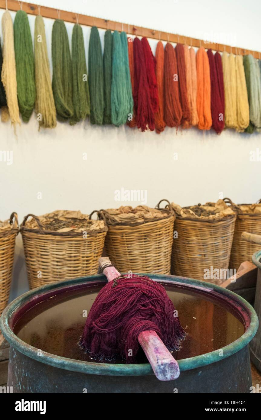 Turkey, Central Anatolia, Cappadocia, listed as World Heritage by UNESCO, Uchisar, wool coloured using vegetable dyes - Stock Image