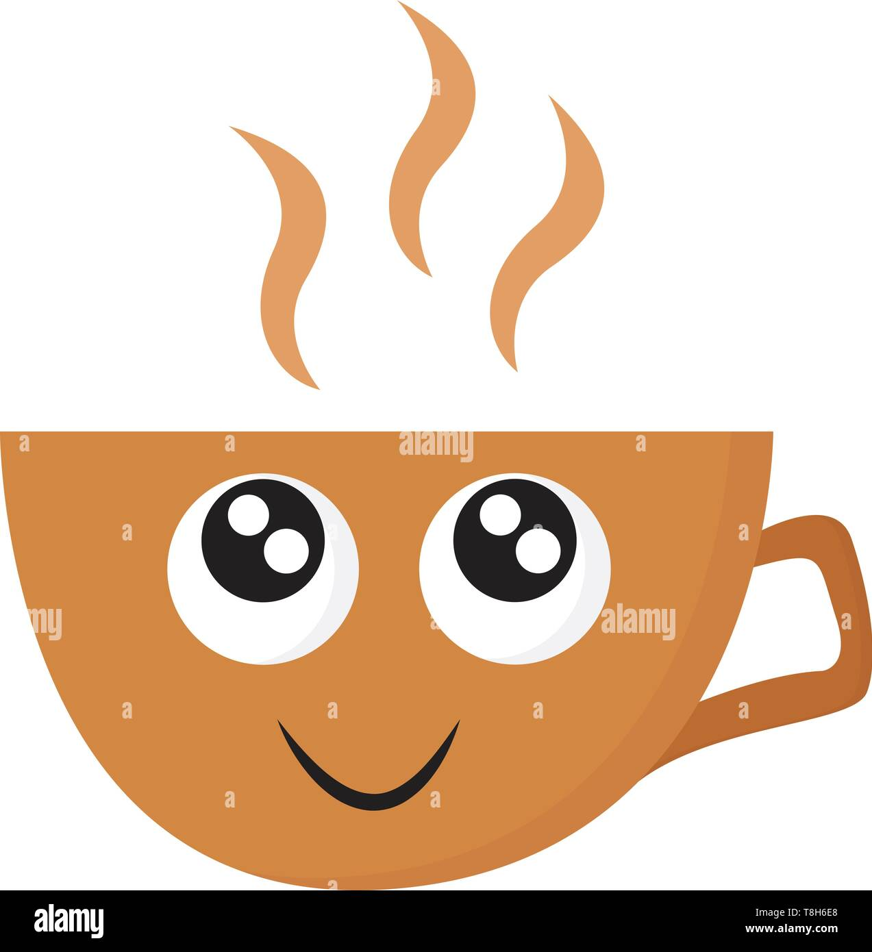 A Small Cute Coffee Cup In Orange Colour With Hot Coffee In It Vector Color Drawing Or Illustration Stock Vector Image Art Alamy