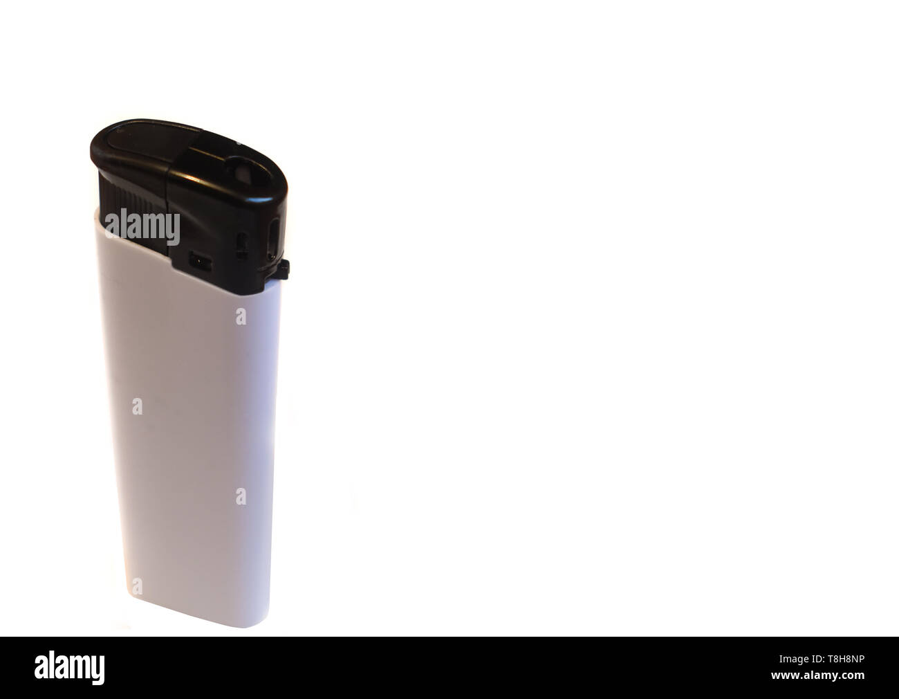White lighter isolated on white background with copy space Stock Photo