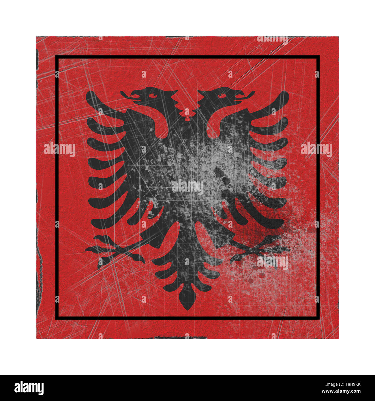 3d rendering of an Albania country flag on a rusty surface - Stock Image