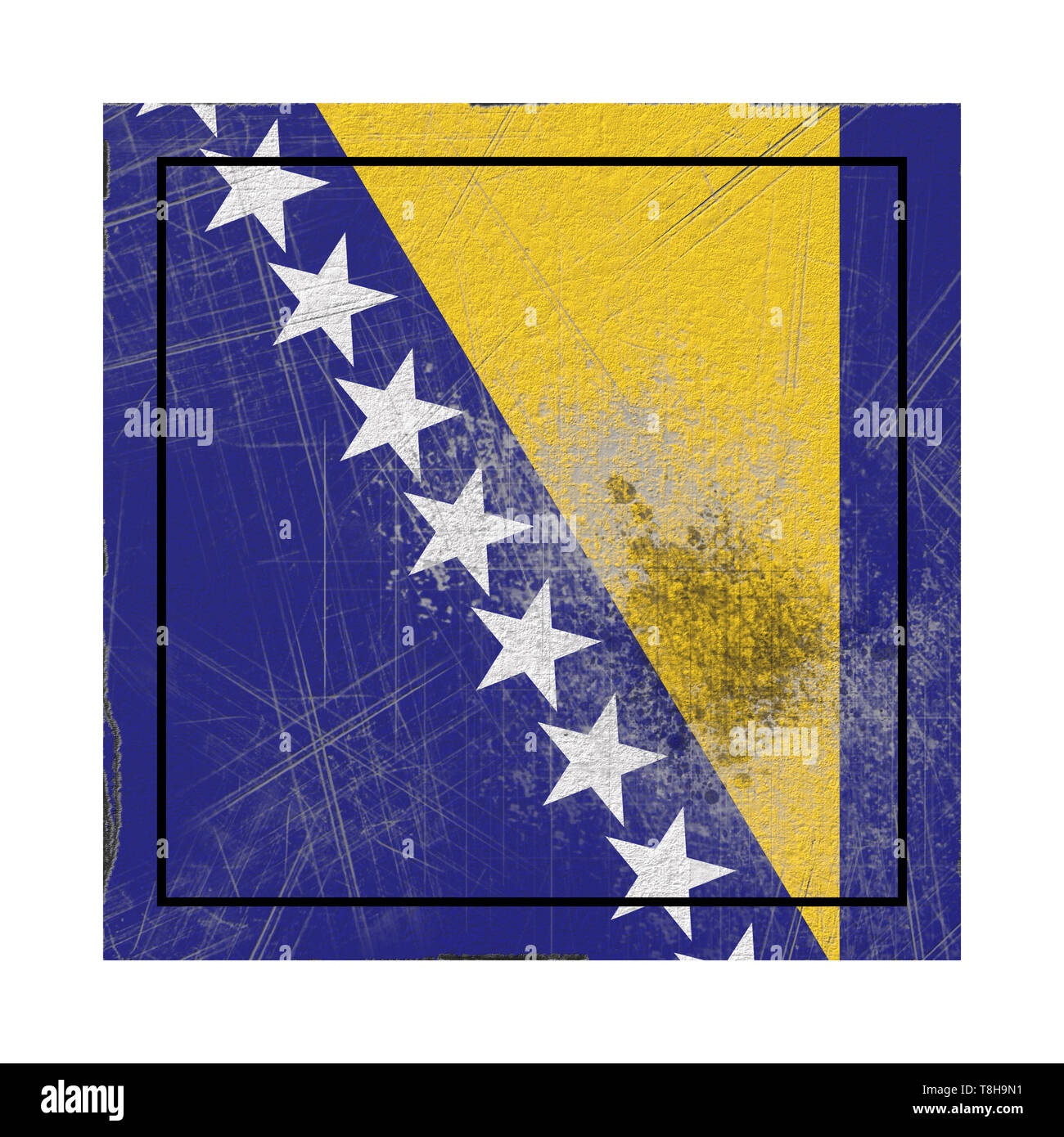3d rendering of a Bosnia and Herzegovina country flag on a rusty surface - Stock Image