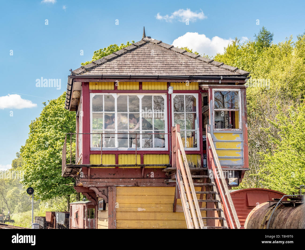Signal box, Bolton and Embsay steam railway. Bolton Station, Yorkshire Dales, UK. - Stock Image