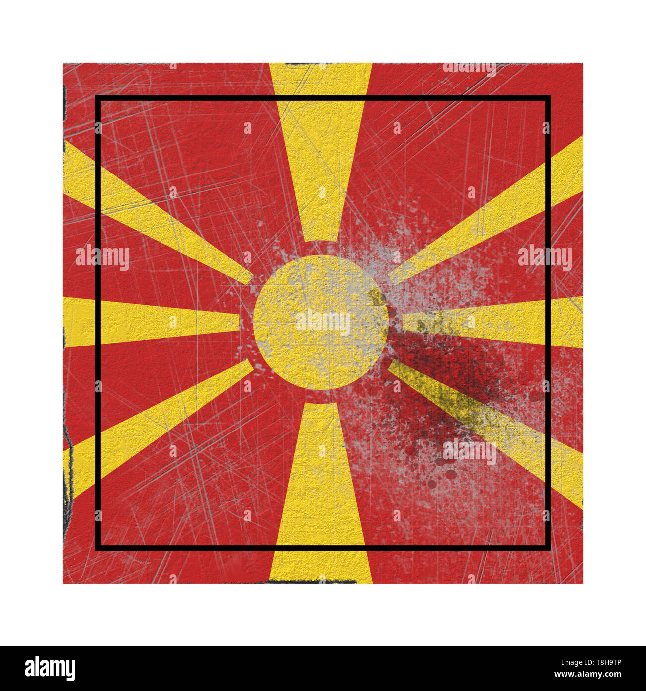 3d rendering of a Macedonia country flag on a rusty surface - Stock Image