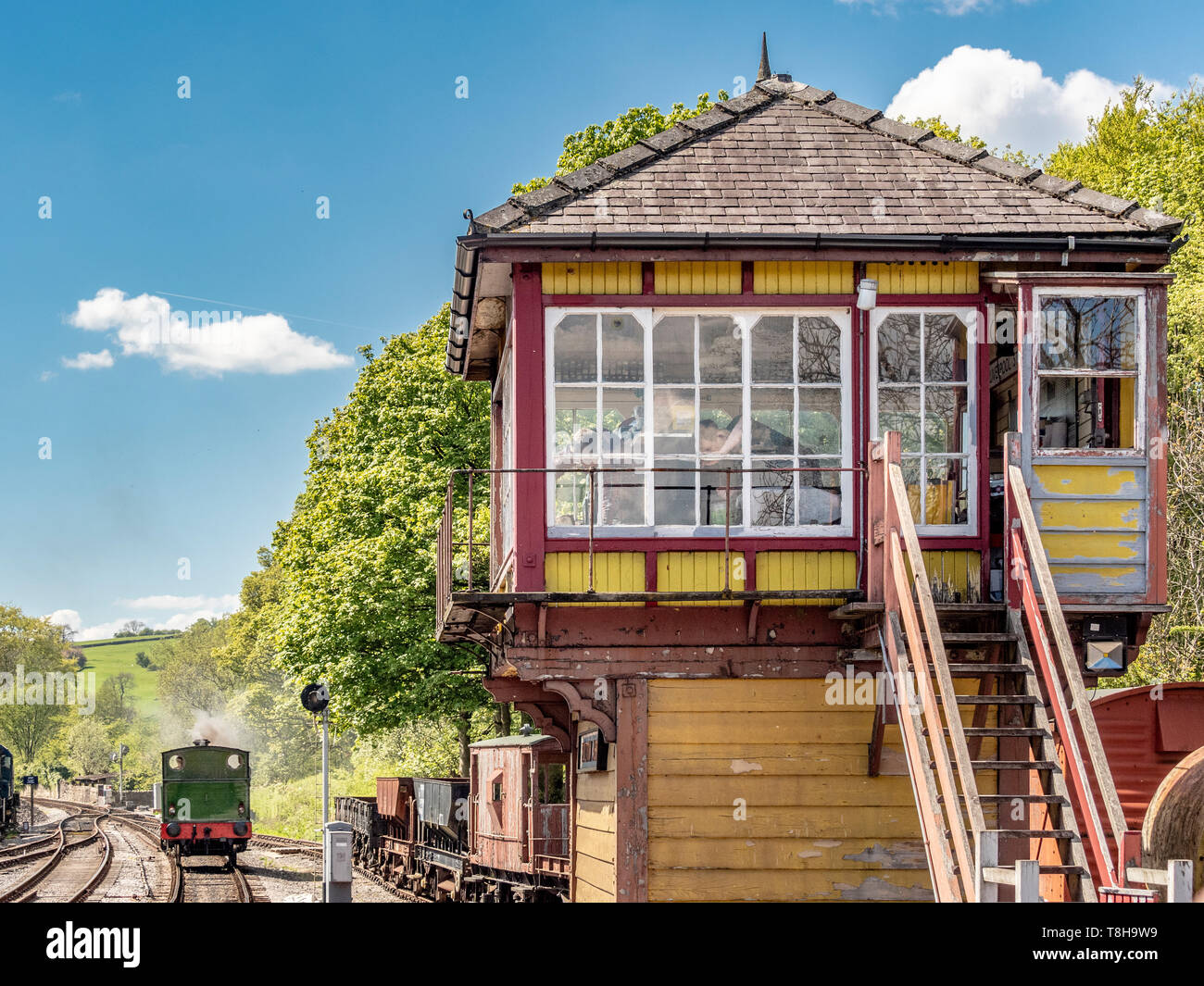 Signal box and Sir Robert Alpine and Sons, Engine No. 88. Bolton and Embsay steam railway. Bolton Station, Yorkshire Dales, UK. - Stock Image