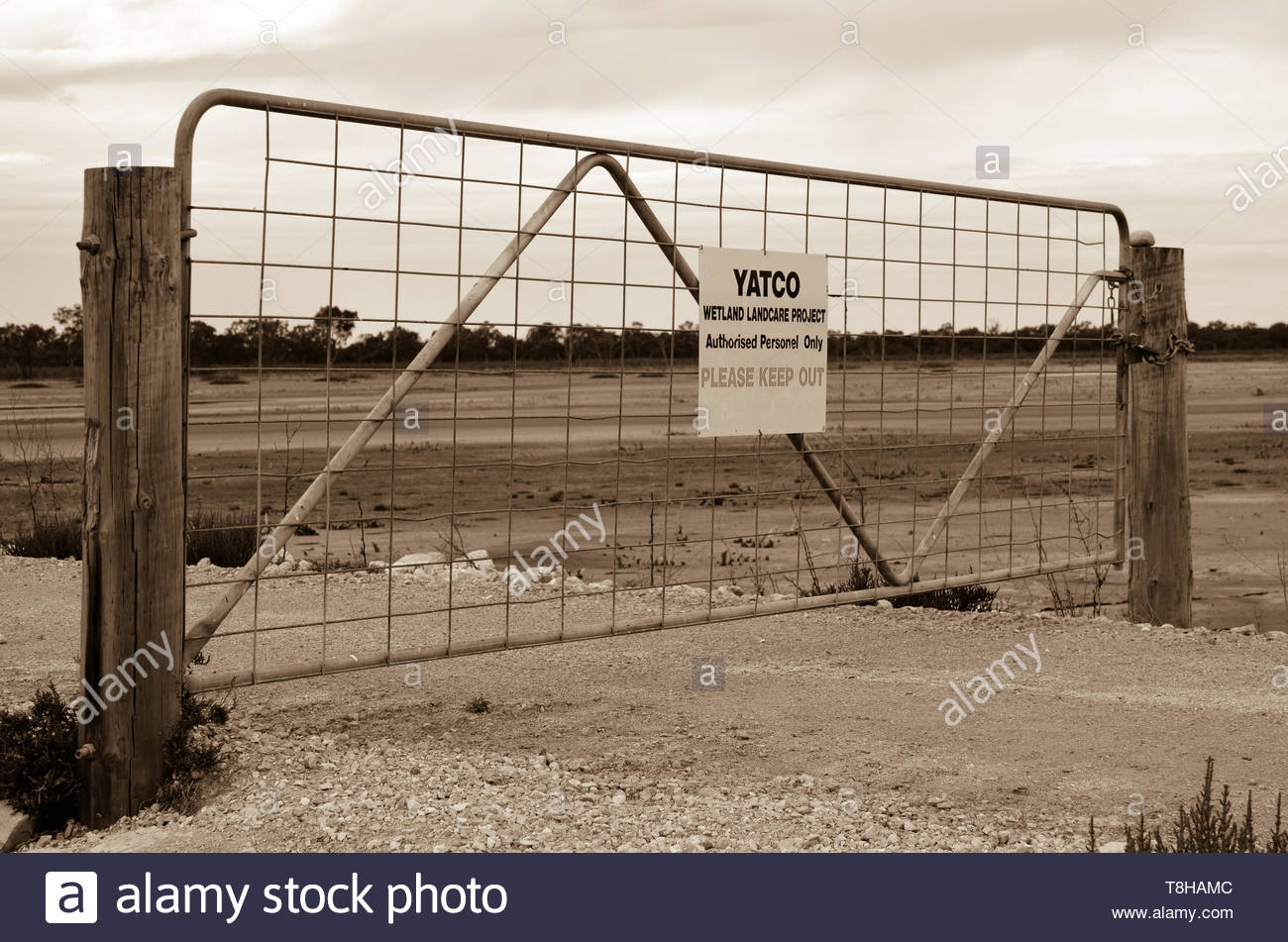 Yatco Wetlands 'keep out' gate with no fence. Moorook, South Australia. Dry wetlands. Sepia photo. - Stock Image