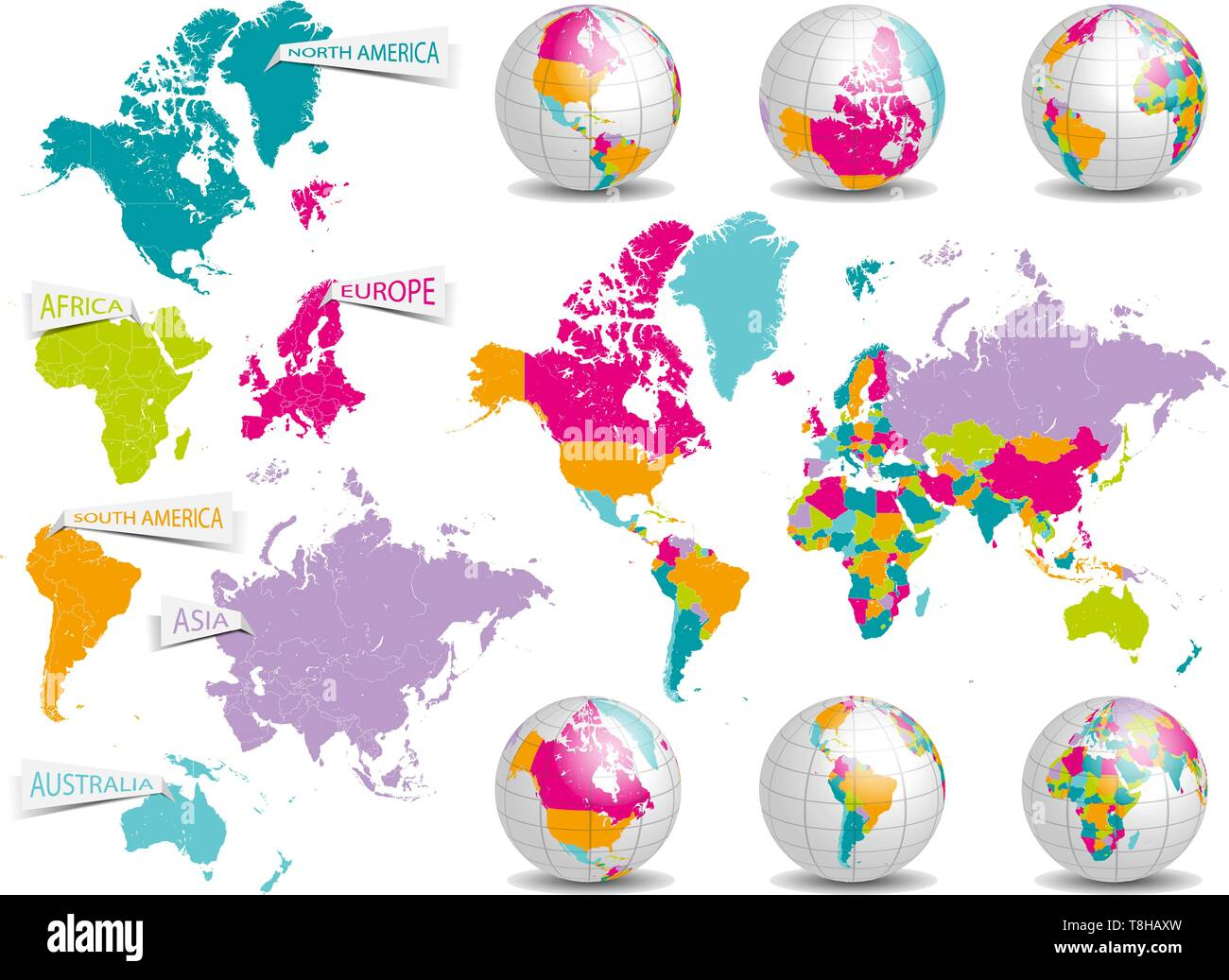 detailed world map and earth globe vector set Stock Vector Art ... on
