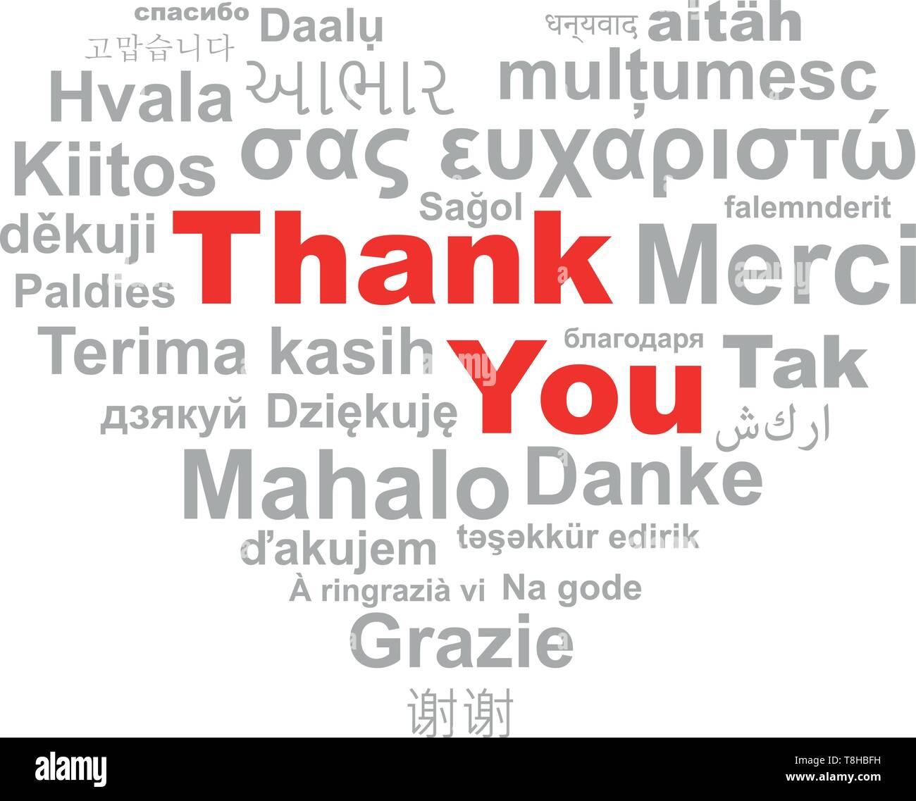 thank you heart word cloud Stock Vector