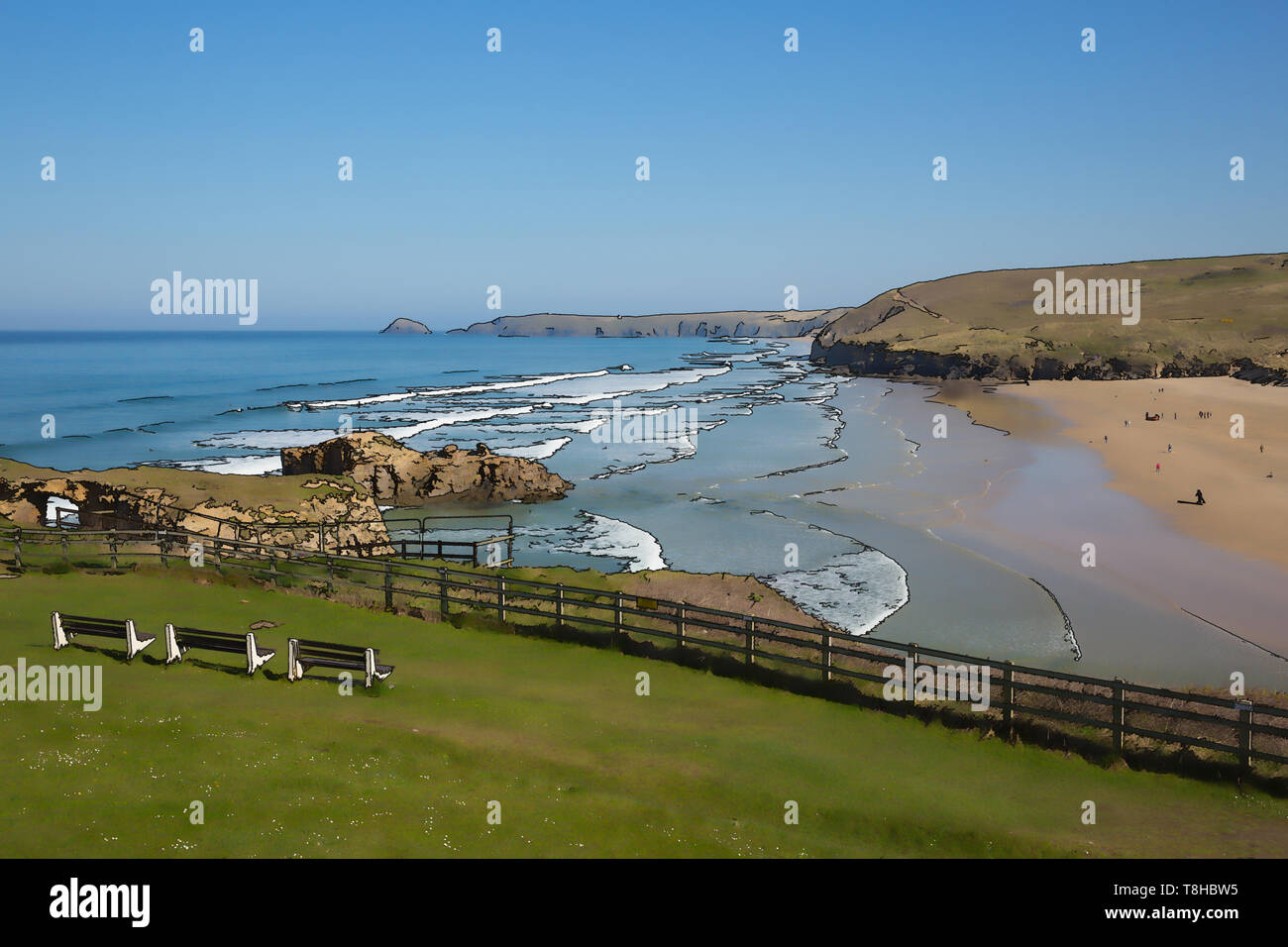 Perranporth beach North Cornwall illustration of one the uk best surfing beaches - Stock Image