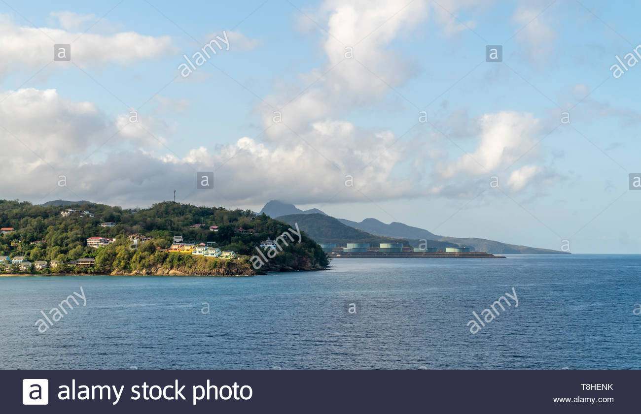 La Toc Beach and the Buckeye crude oil terminal near the harbor and port of Castries on the island of Saint Lucia, West Indies, Caribbean Sea - Stock Image