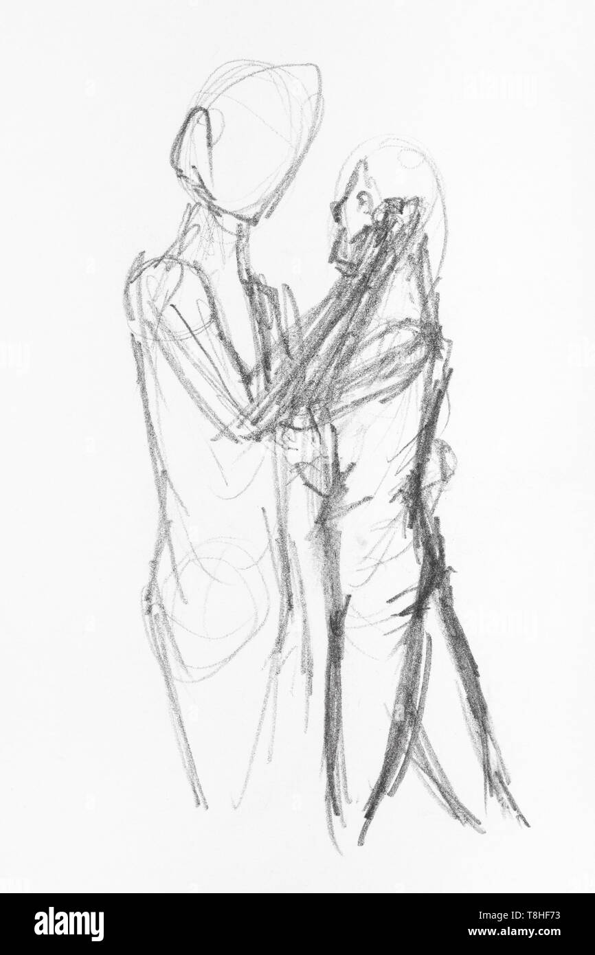 Sketch Of Couple Hand Drawn By Black Pencil On White Paper
