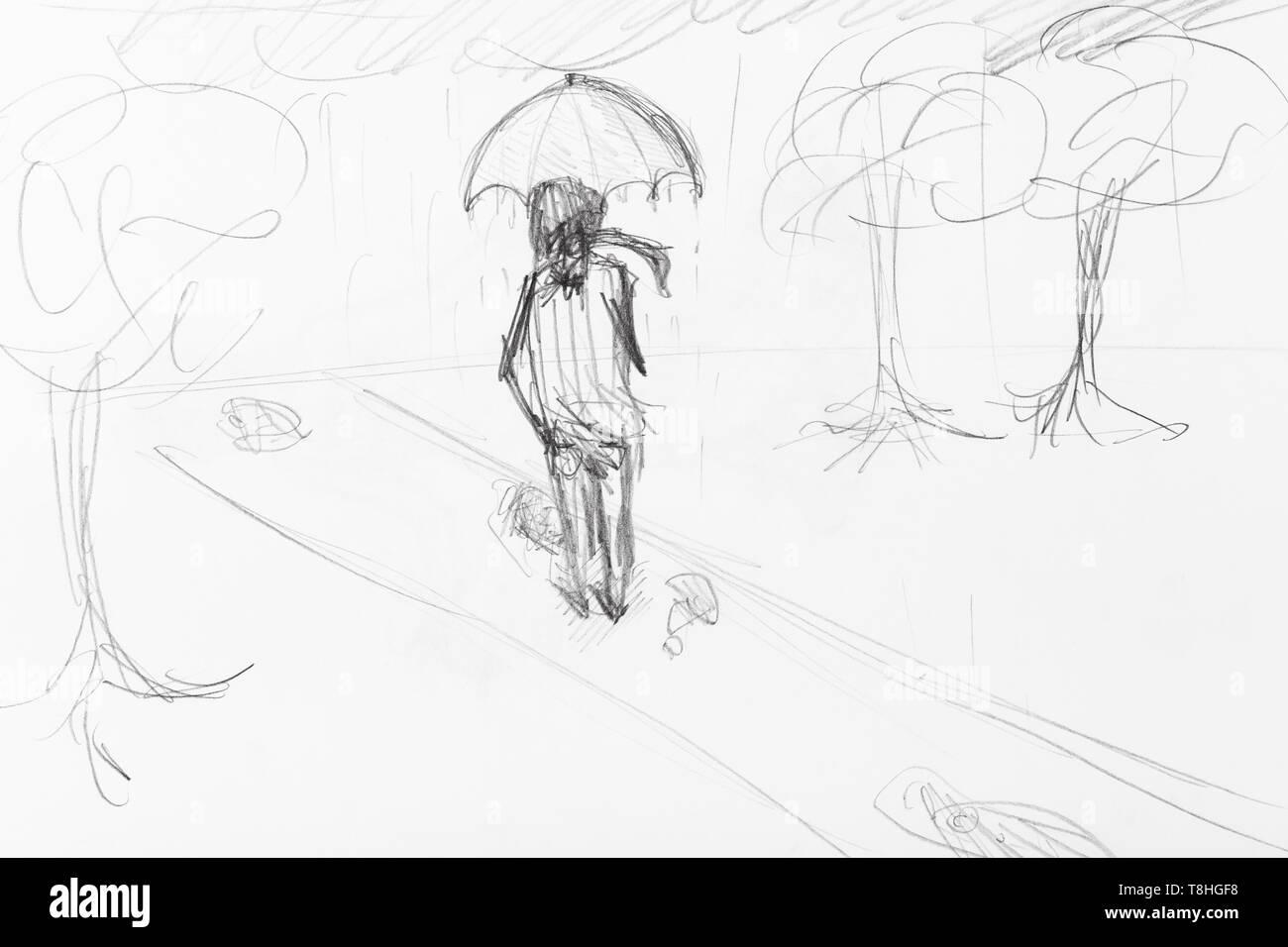 Sketch of man under umbrella walking in city park in rain