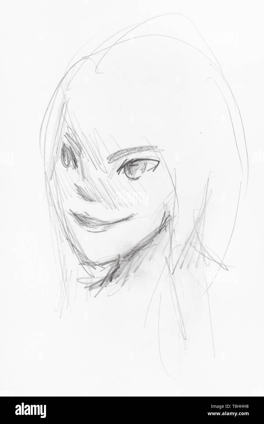 Sketch of girls head with smiling face in anime style hand
