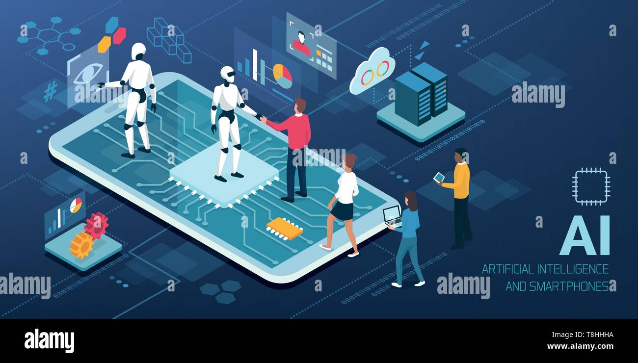 Human-AI interaction: people meeting android robots on a smartphone with AI processor, artificial intelligence and human computer interaction concept Stock Vector