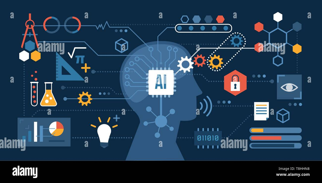 Artificial intelligence connected to a network of icons: problem solving, decision making and productivity concept Stock Vector