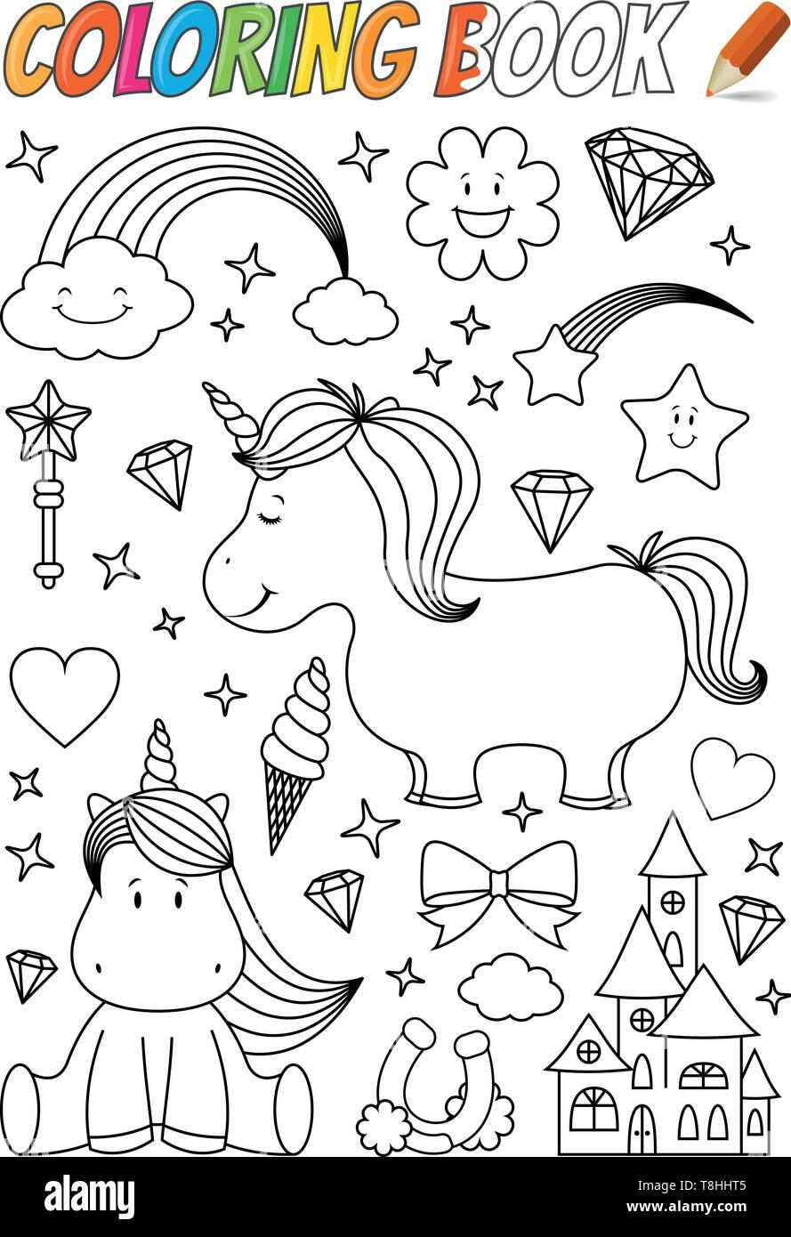 unicorn coloring book template Stock Vector Art ...