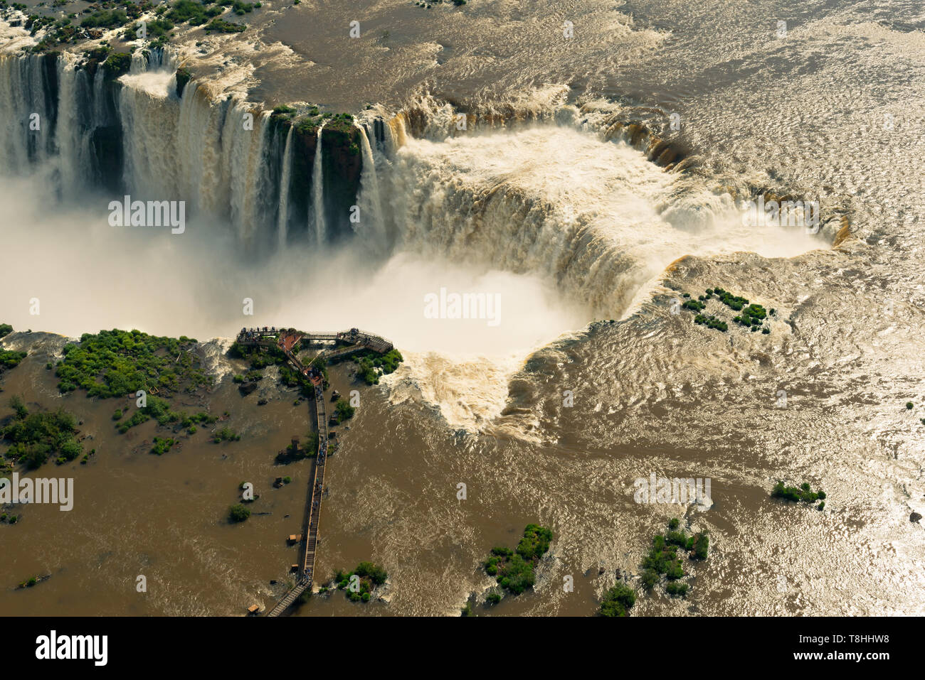 Aerial view of Iguazu Falls in the border of Argentina and Brazil - Stock Image