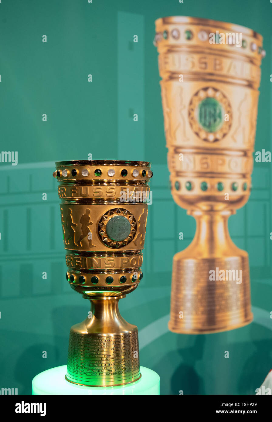 10 May 2019, Berlin: Soccer: DFB Cup, Cup Handover of the DFB Cup. The DFB Cup will be placed on a pedestal before the start of the event. Photo: Soeren Stache/dpa - Stock Image