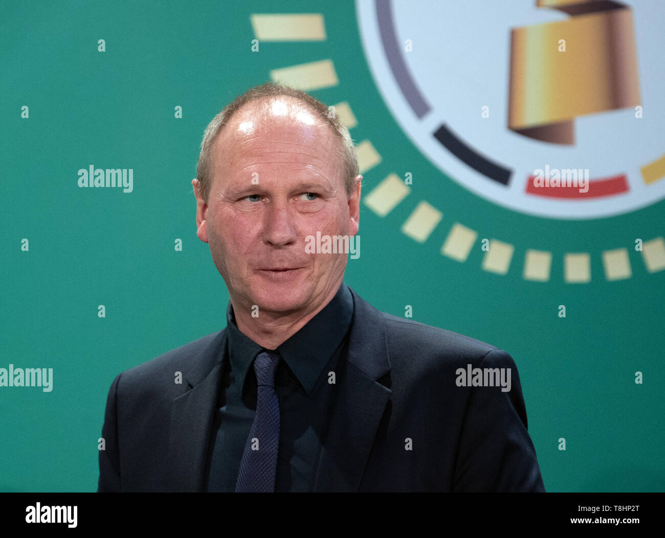10 May 2019, Berlin: Soccer: DFB Cup, Cup Handover of the DFB Cup. Perry Bräutigam, former national goalkeeper of the GDR national team and current goalkeeper scout at RB Leipzig. Photo: Soeren Stache/dpa - Stock Image