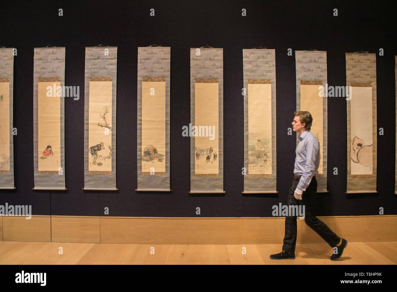 London UK. 13th May 2019. Suzuki Shonen (1849-1918). Meiji or Taisho era, early 20th century set of 12 kakejiku (vertical hanging scrolls) carries an estimate of £5,000-8,000 at Bonhams Fine Japanese Art sale.Photo call for  Fine Chinese and Fine Japanese sales at Bonhams  New Bond street Credit: amer ghazzal/Alamy Live News - Stock Image