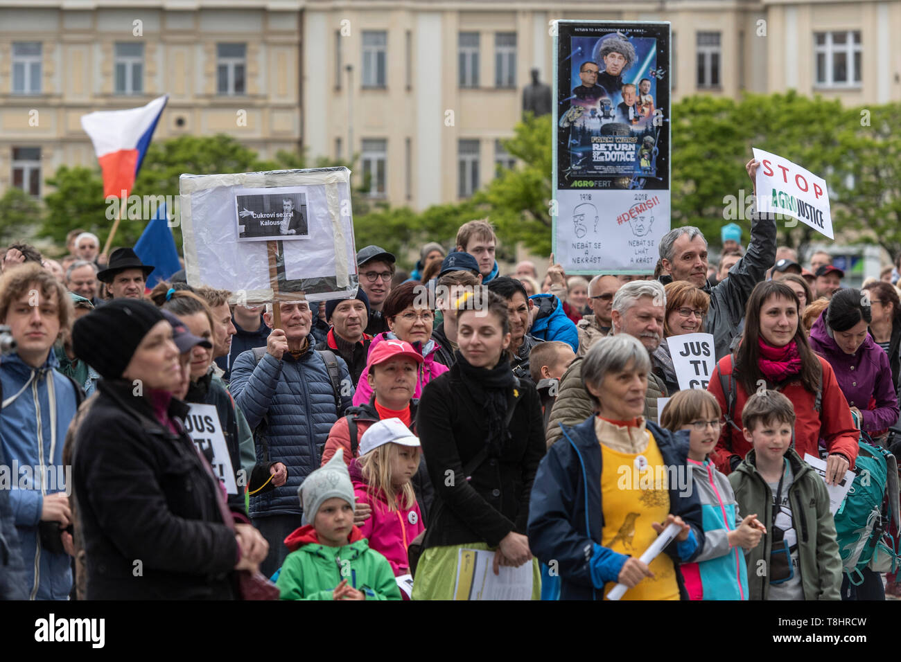 Hradec Kralove, Czech Republic. 13th May, 2019. People attend demonstration against PM Babis and new Justice Minister Benesova in the centre of Hradec Kralove, Czech Republic, May 13, 2019. Credit: David Tanecek/CTK Photo/Alamy Live News Stock Photo