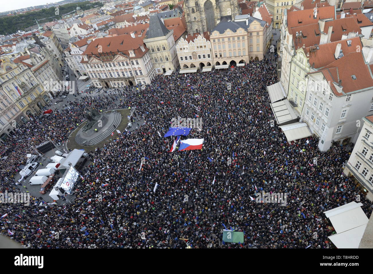 Prague, Czech Republic. 13th May, 2019. About 20,000 people attend third demonstration against PM Babis and new Justice Minister Benesova in the centre of Prague, Czech Republic, May 13, 2019. Credit: Katerina Sulova/CTK Photo/Alamy Live News Stock Photo