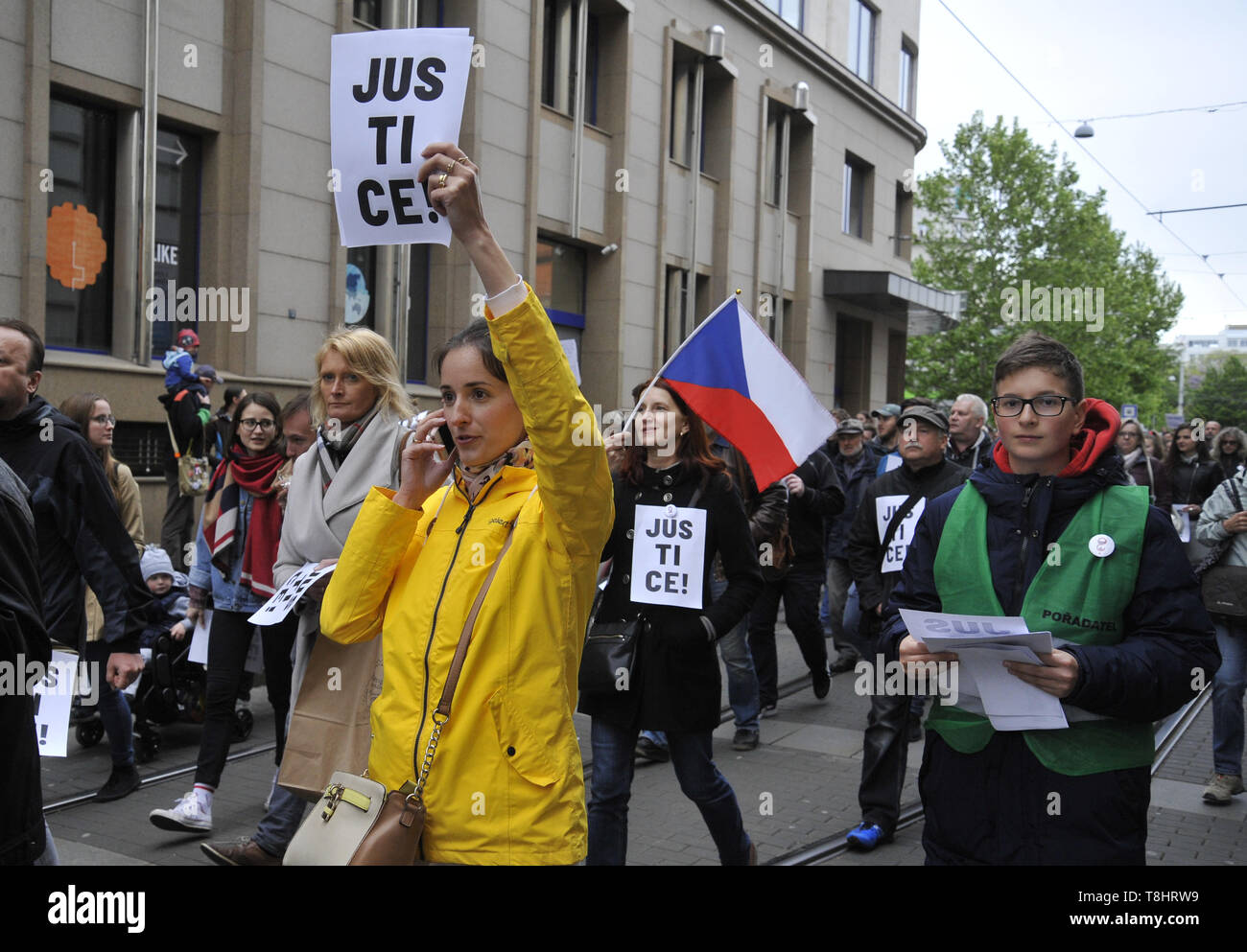 Brno, Czech Republic. 13th May, 2019. People attend third demonstration against PM Babis and new Justice Minister Benesova in the centre of Brno, Czech Republic, May 13, 2019. Credit: Igor Zehl/CTK Photo/Alamy Live News Stock Photo