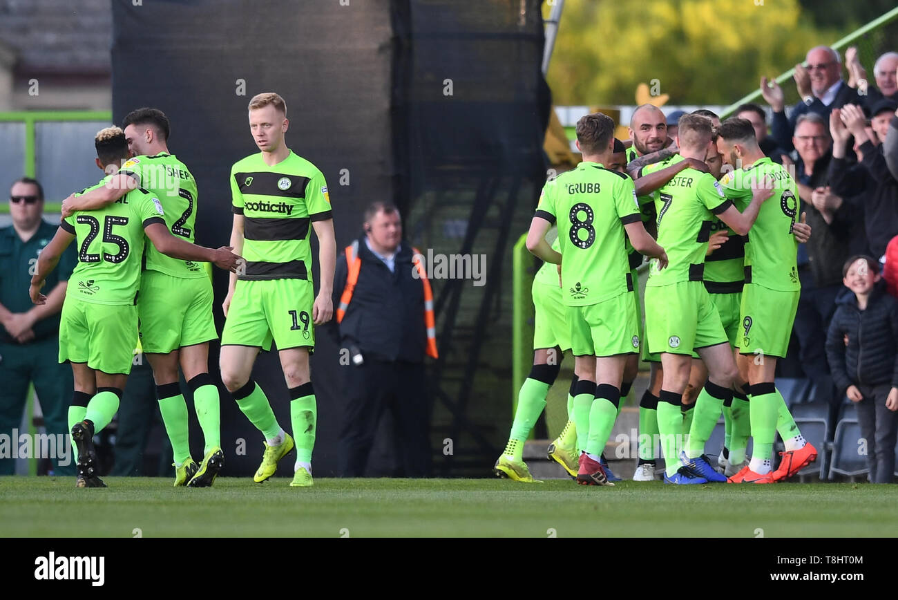 The New Lawn, Nailsworth, UK. 13th May, 2019. EFL League 2 football, playoff semi final 2nd leg, Forest Green Rovers versus Tranmere Rovers; Joseph Mills of Forest Green Rovers celebrates with his team on scoring the first goal of the match in 13th minute Credit: Action Plus Sports/Alamy Live News - Stock Image