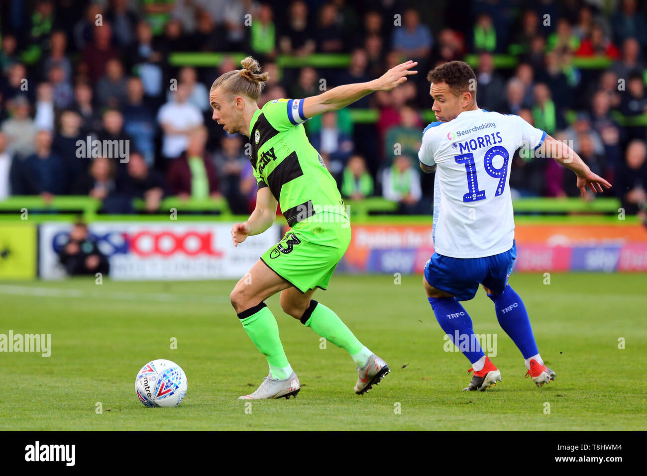 Nailsworth, UK. 13th May, 2019. Joseph Mills of Forest Green Rovers and Kieron Morris of Tranmere Rovers during the EFL Sky Bet League 2 Play Off Semi Final match between Forest Green Rovers and Tranmere Rovers at The New Lawn, Nailsworth, England on 13 May 2019. Photo by Dave Peters. Editorial use only, license required for commercial use. No use in betting, games or a single club/league/player publications. Credit: UK Sports Pics Ltd/Alamy Live News - Stock Image