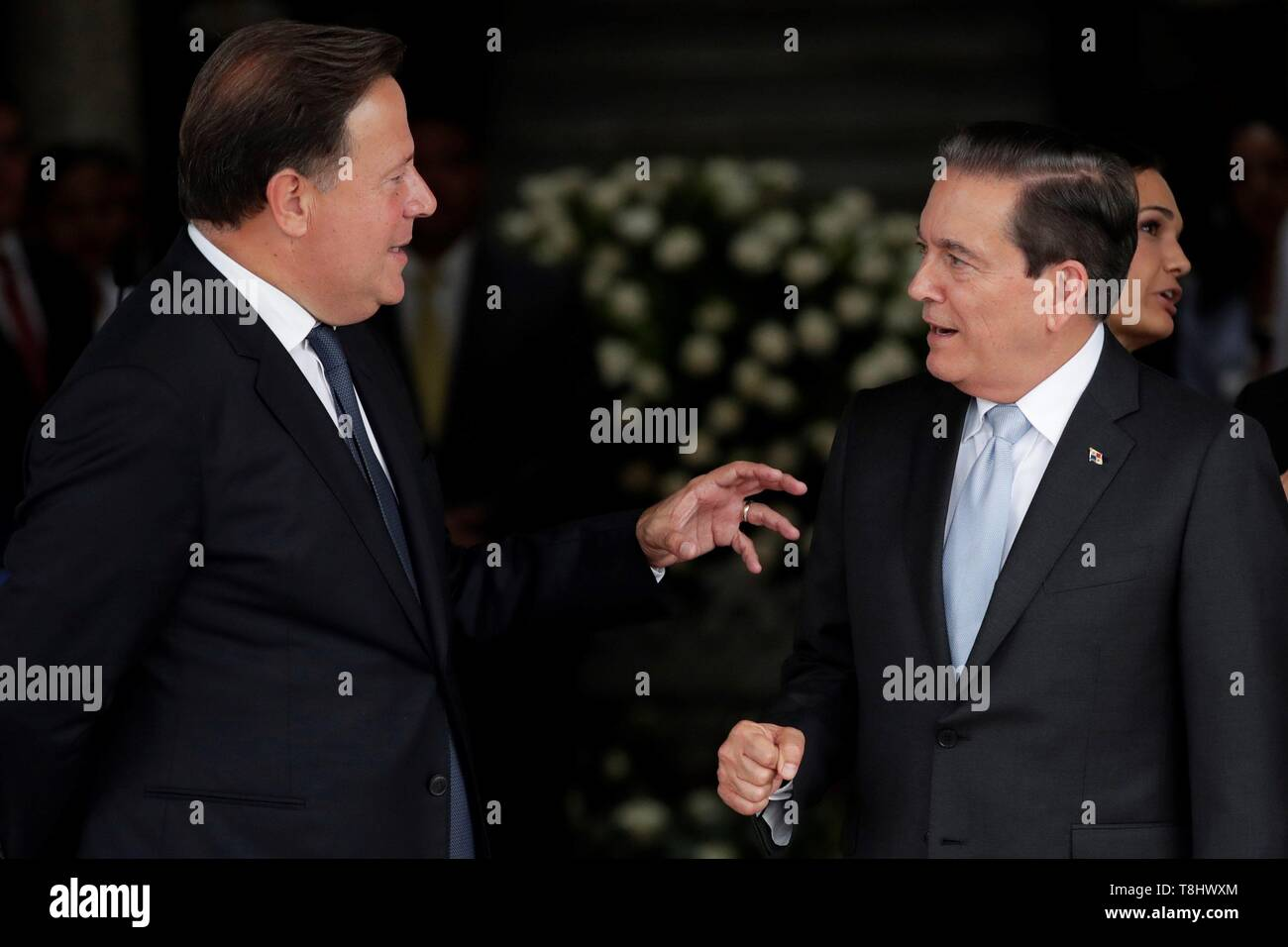 Panama's President Juan Carlos Varela (L) talks with the elect President Laurentino Cortizo (R) after a meeting of command handover at the Presidential Palace, in Panama City, Panama, on 13 May 2019. EFE/Bienvenido Velasco - Stock Image