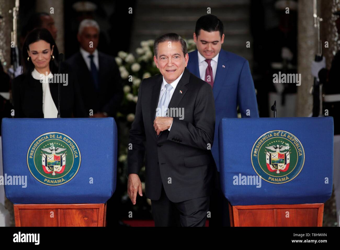 Panama's elect President Laurentino Cortizo is seen during a press conference with the President Juan Carlos Varela (out of frame) after a meeting of command handover at the Presidential Palace, in Panama City, Panama, on 13 May 2019. EFE/Bienvenido Velasco Stock Photo