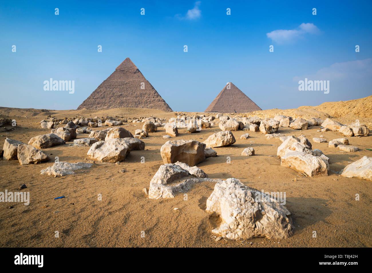 Giza pyramid complex near Cairo, Egypt Stock Photo
