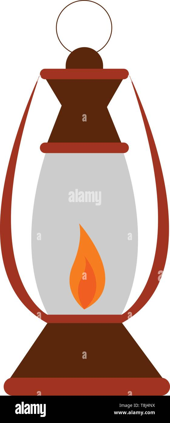 An old Kerosene Lamp which is glowing on a low flame , vector, color drawing or illustration. - Stock Vector