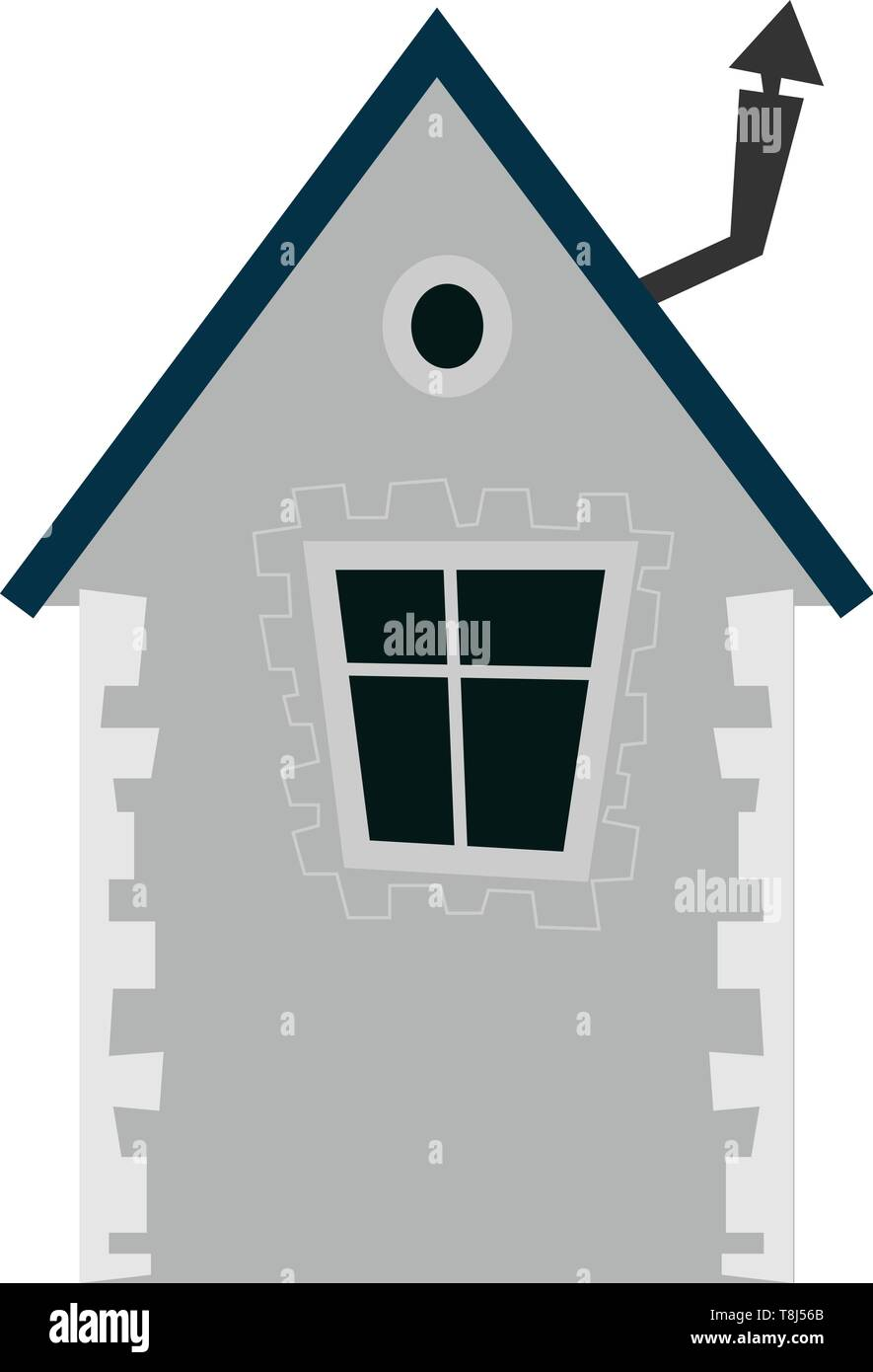 A Cute Small House In Grey Colour With A Single Window Vector